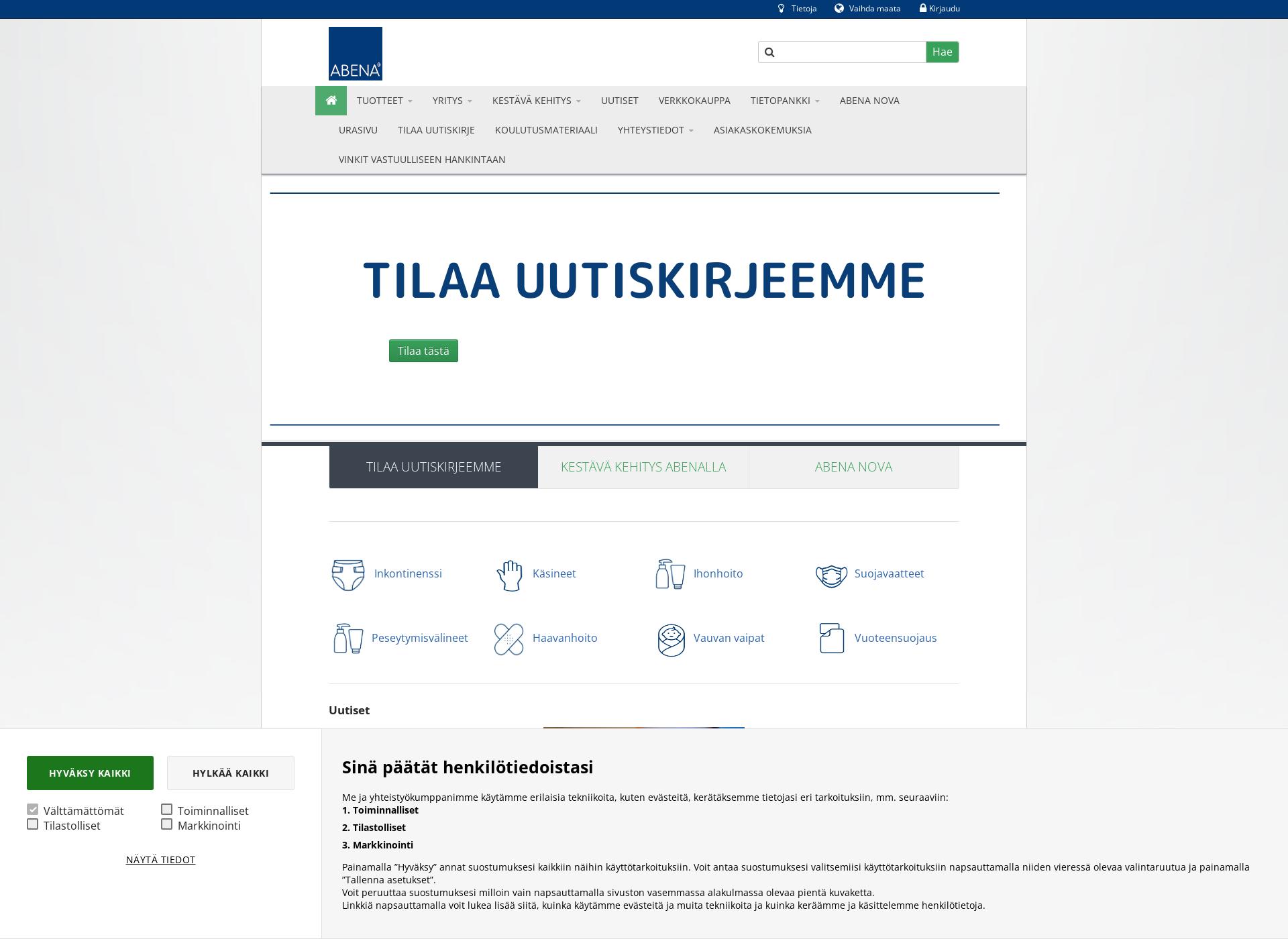 Screenshot for abena.fi