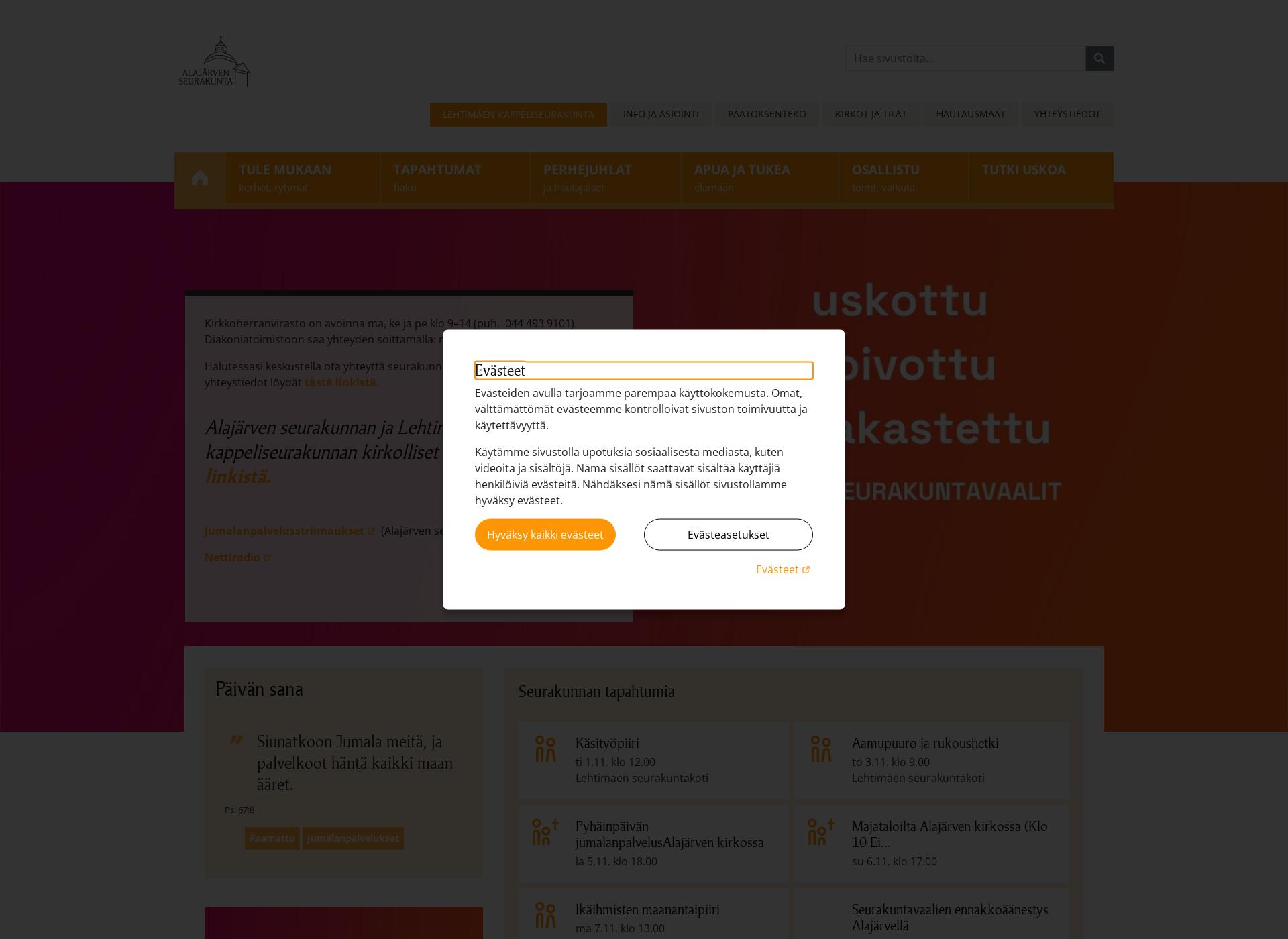 Screenshot for alajarvenseurakunta.fi