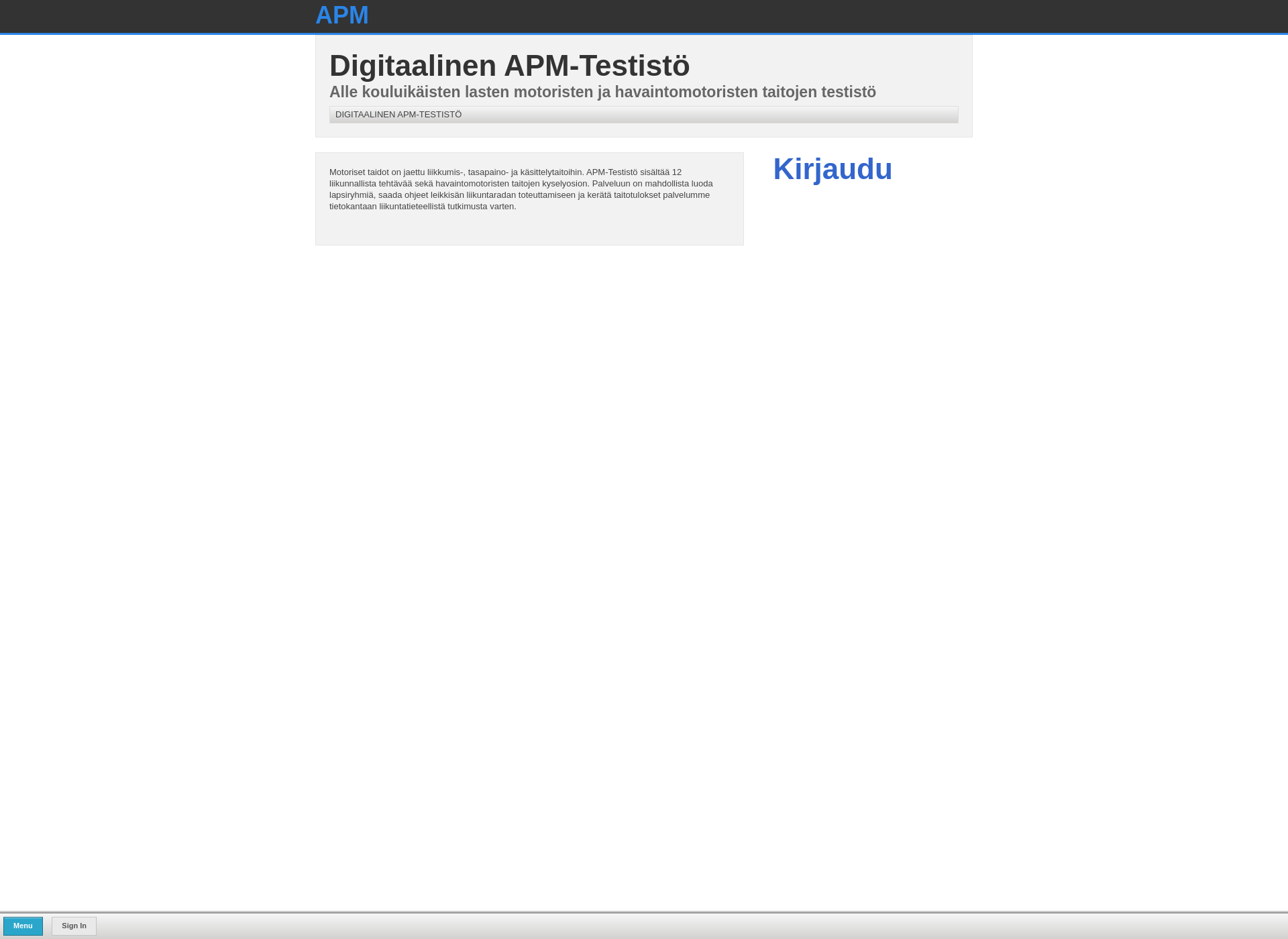 Screenshot for apm-testisto.fi