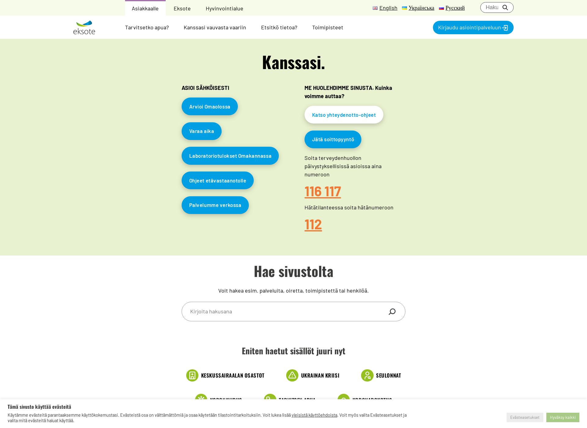 Screenshot for eksote.fi