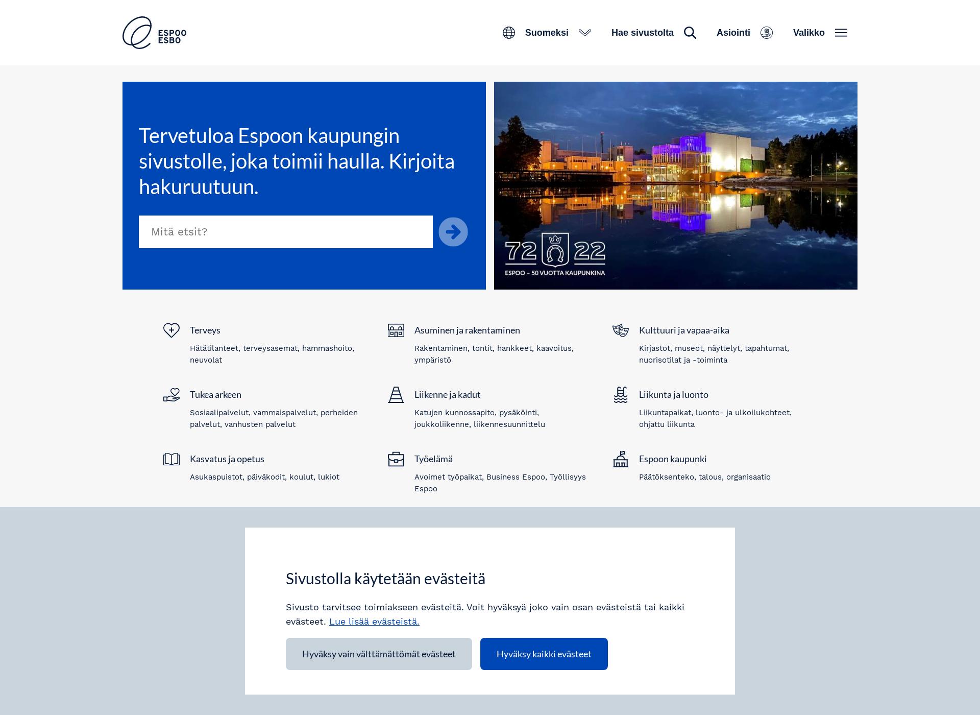 Screenshot for espoo.fi