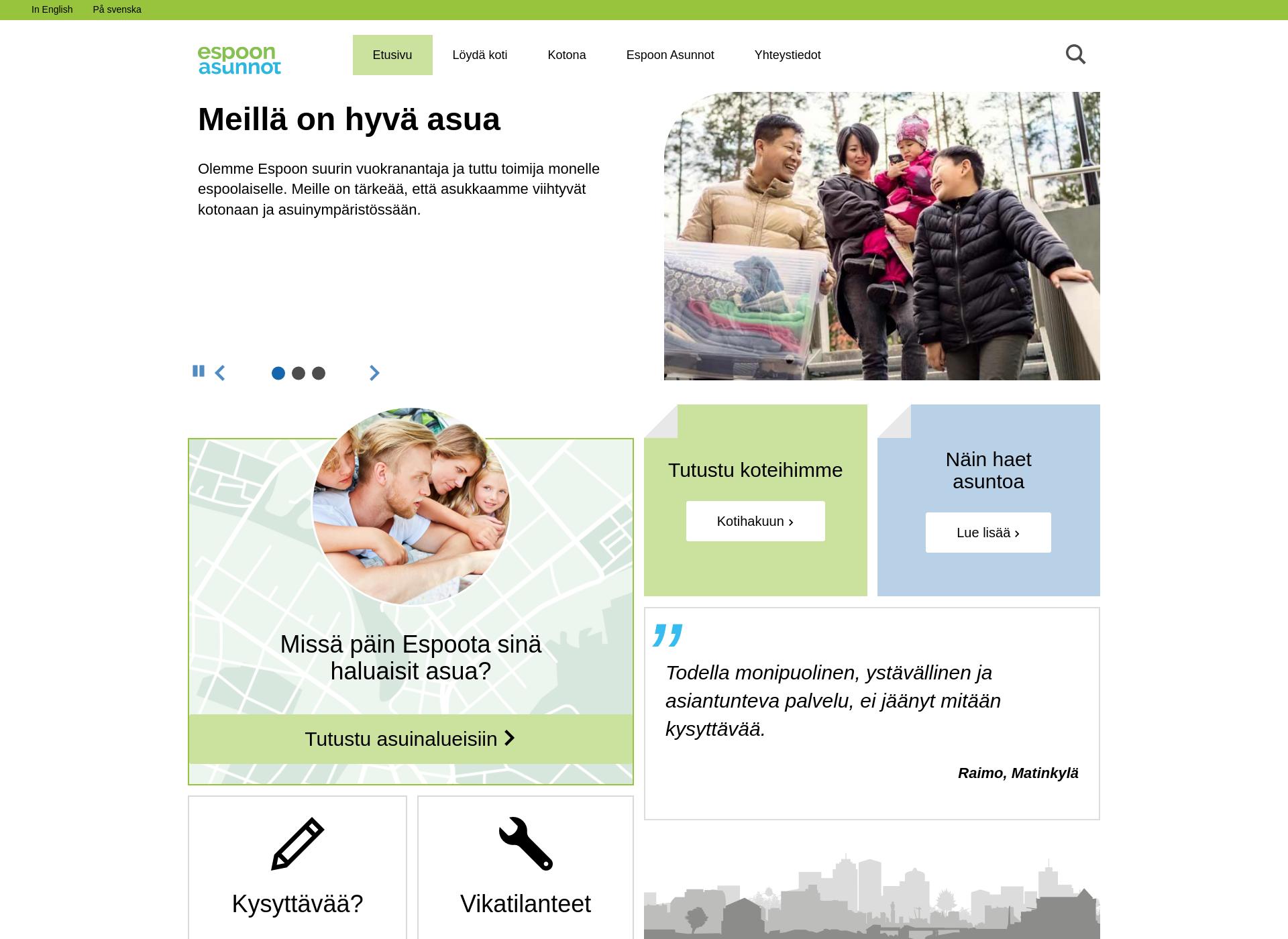 Screenshot for espoonasunnot.fi