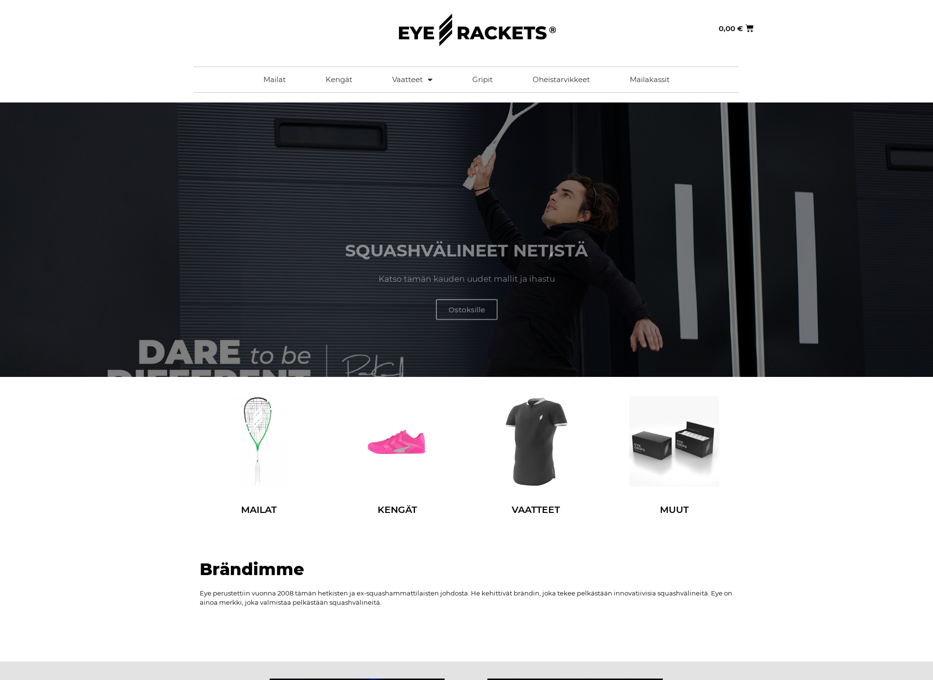 Screenshot for eyerackets.fi