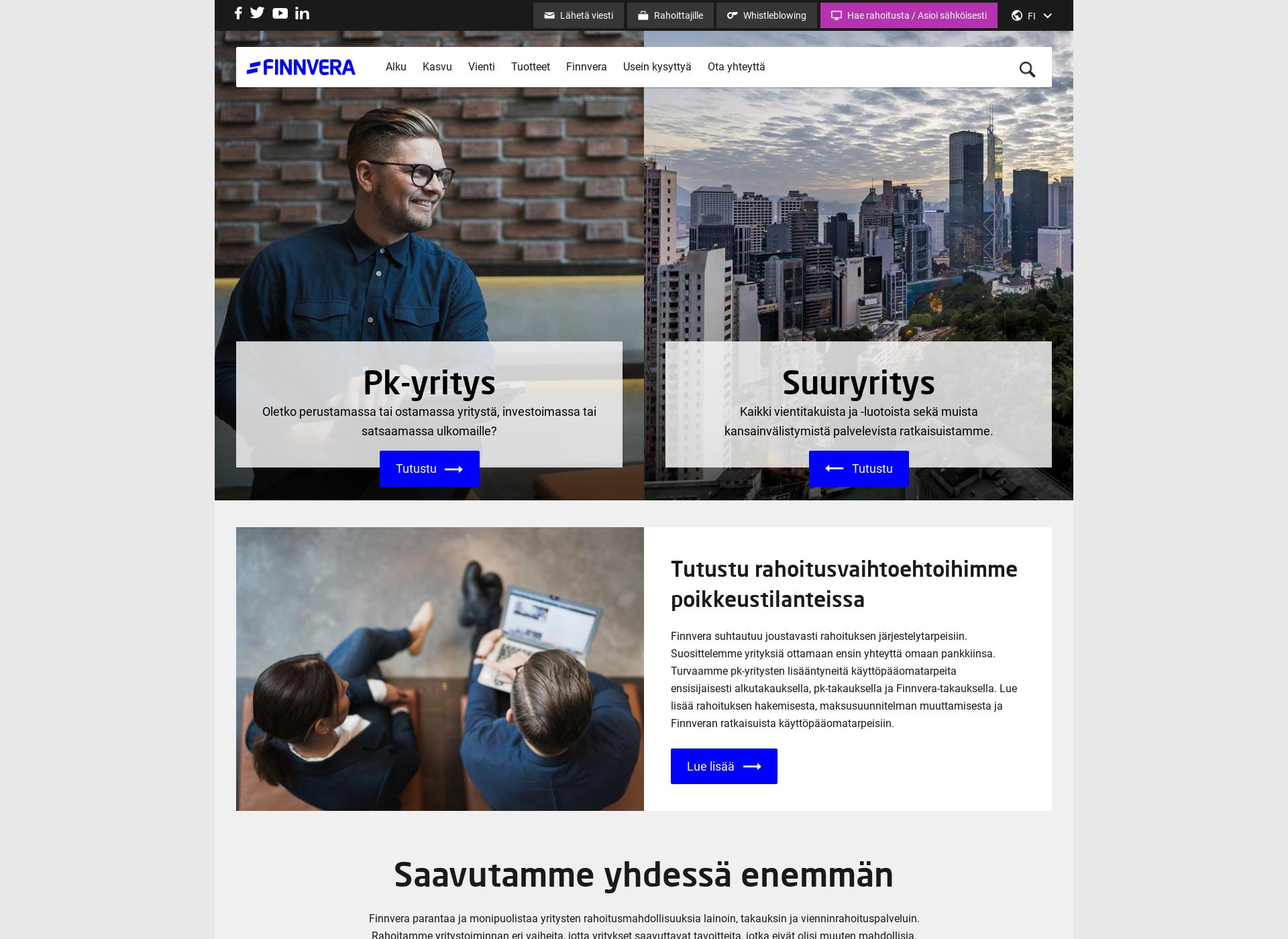 Screenshot for finnvera.fi