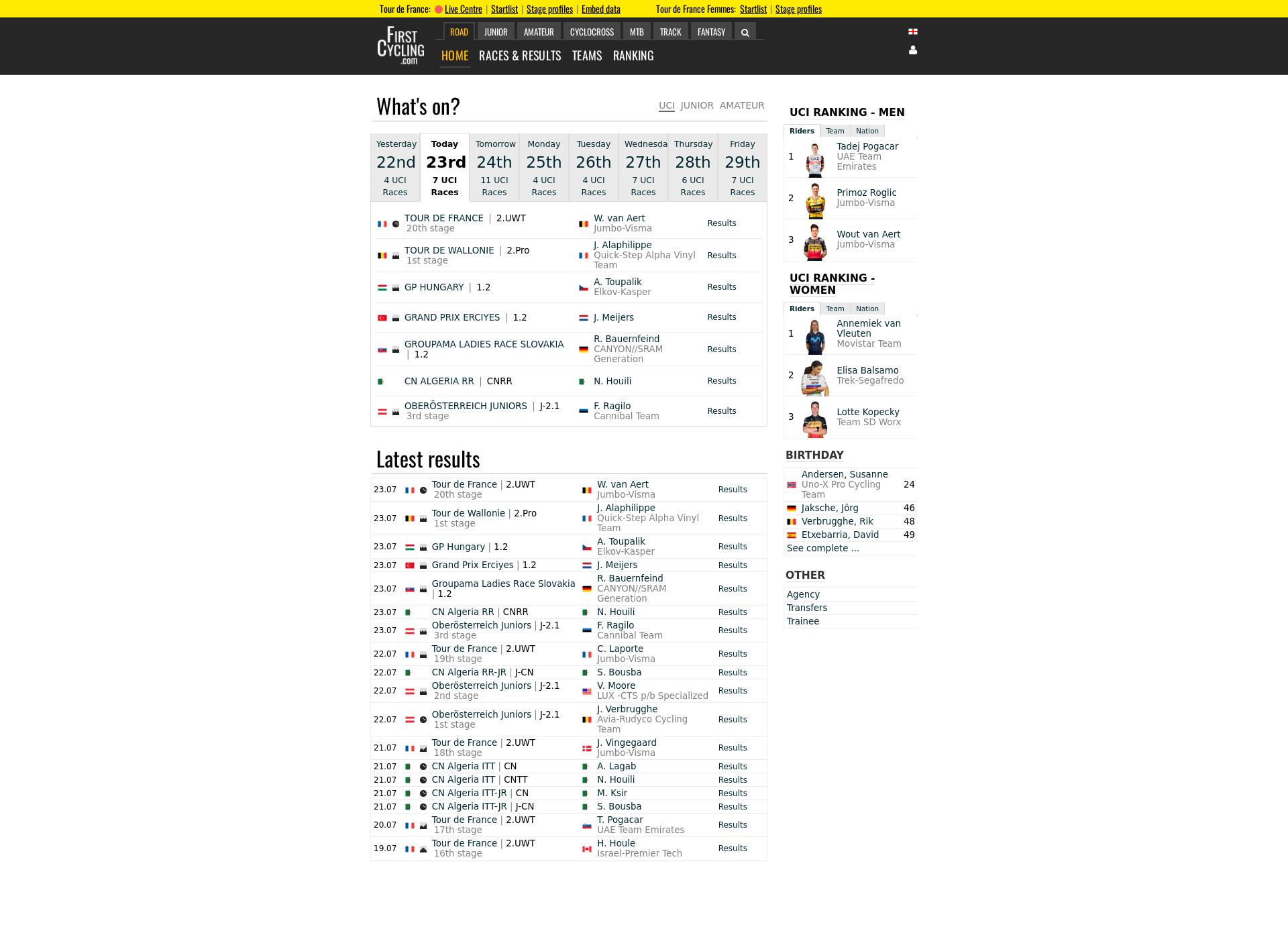 Screenshot for firstcycling.fi