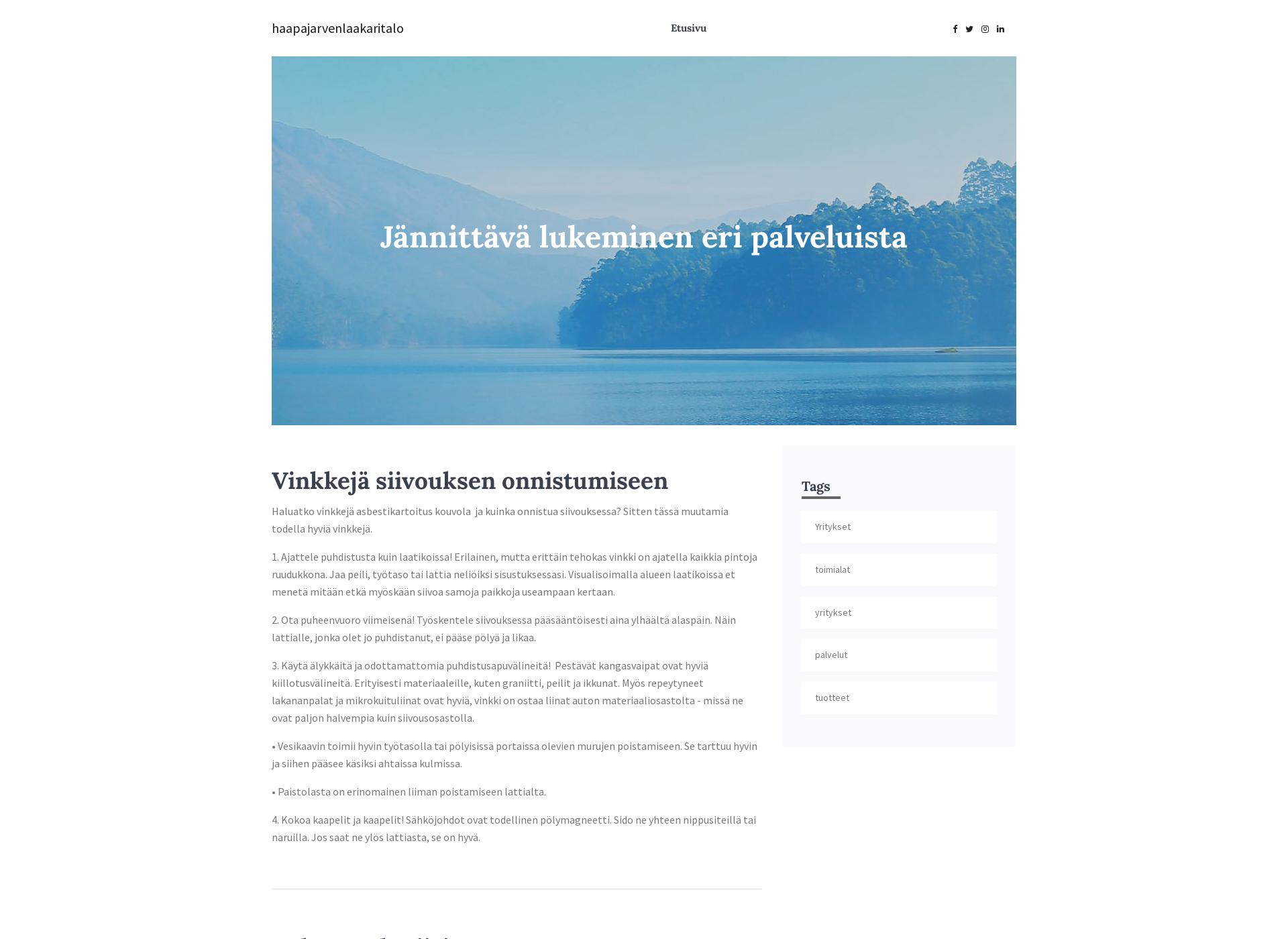 Screenshot for haapajarvenlaakaritalo.fi