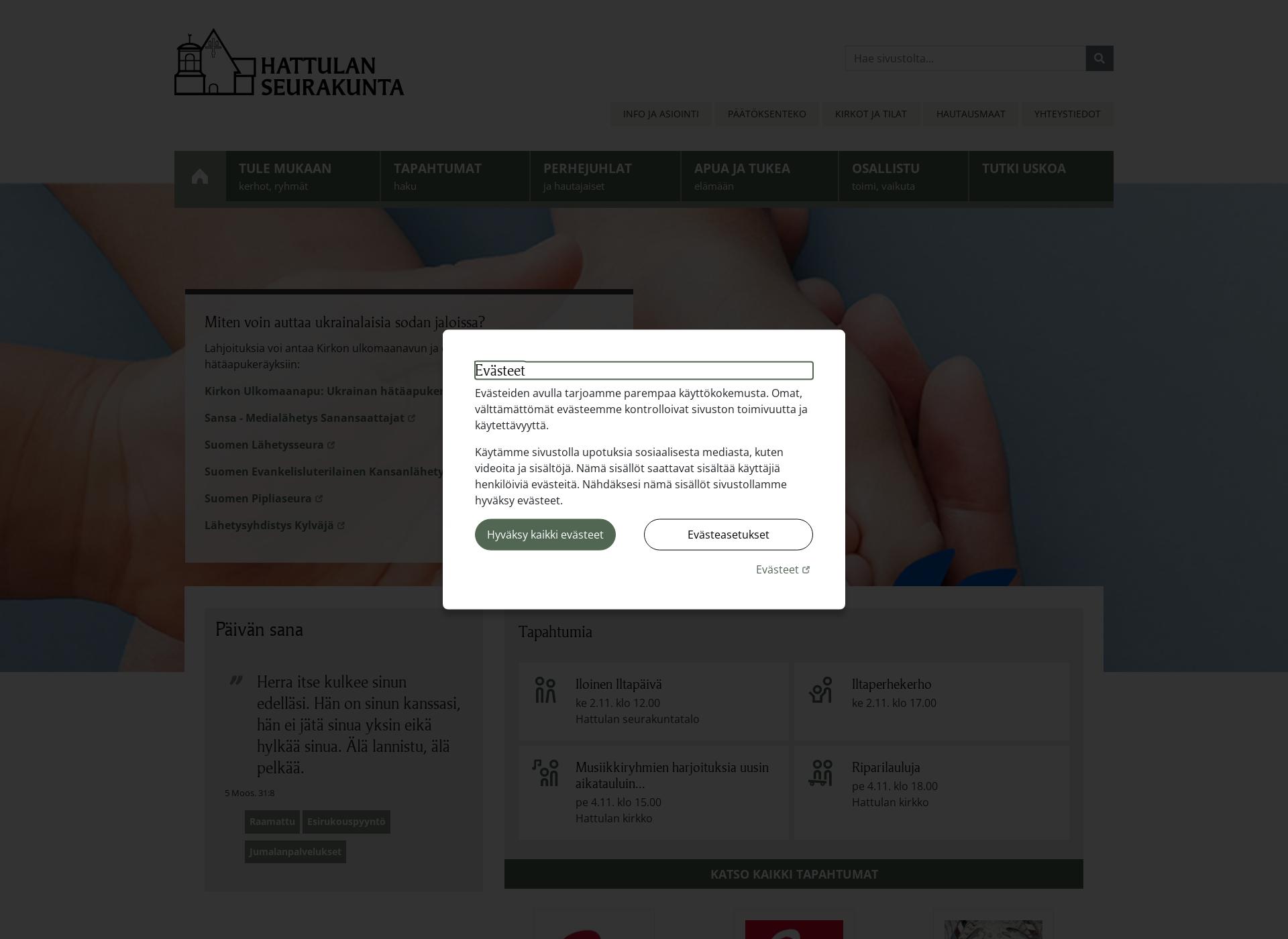 Screenshot for hattulanseurakunta.fi
