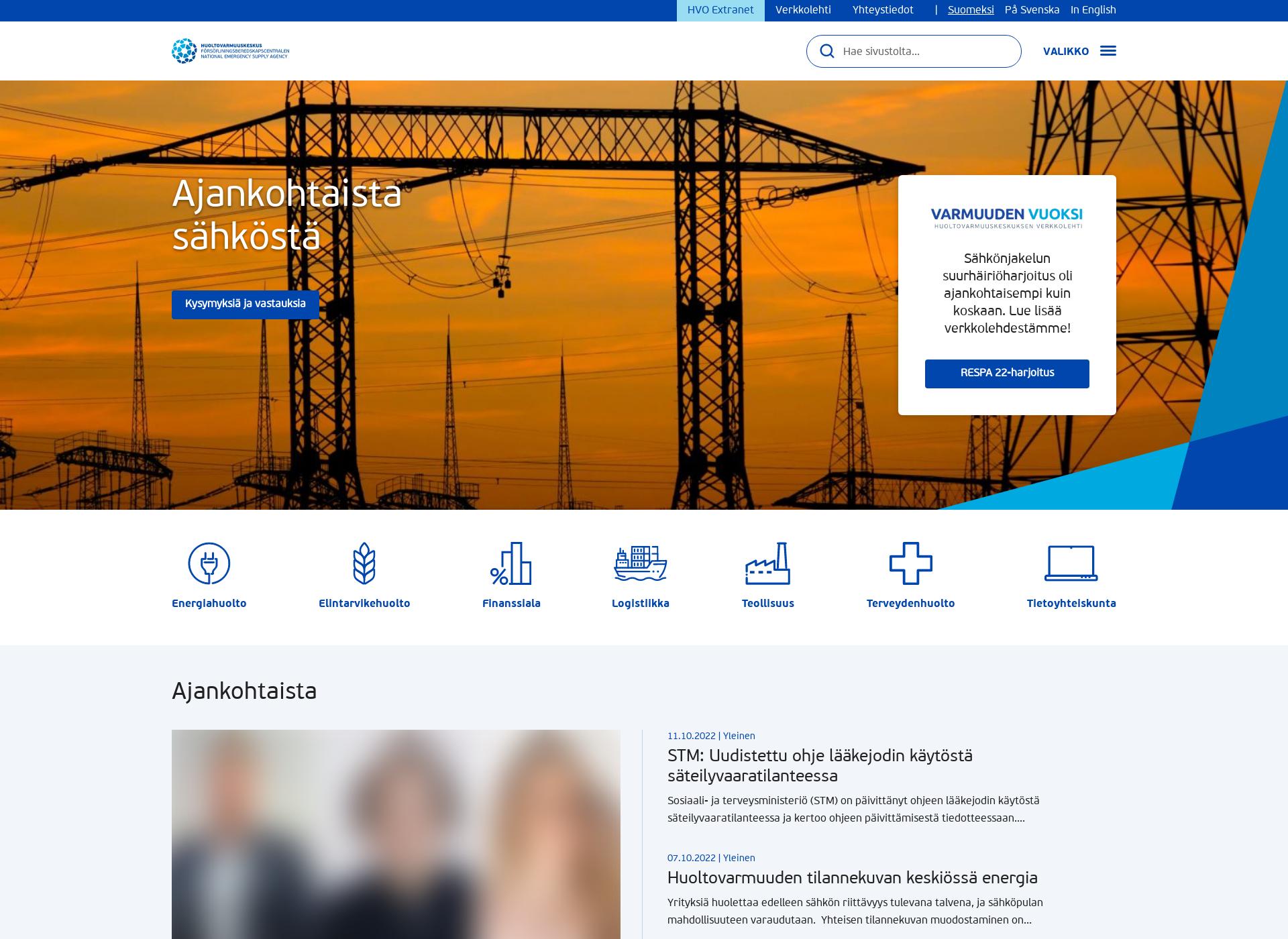 Screenshot for huoltovarmuuskeskus.fi