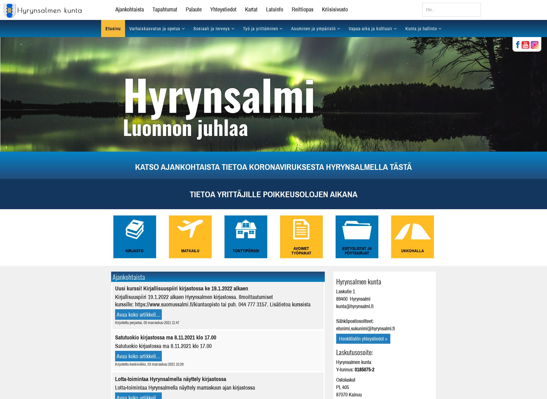Screenshot for hyrynsalmi.fi