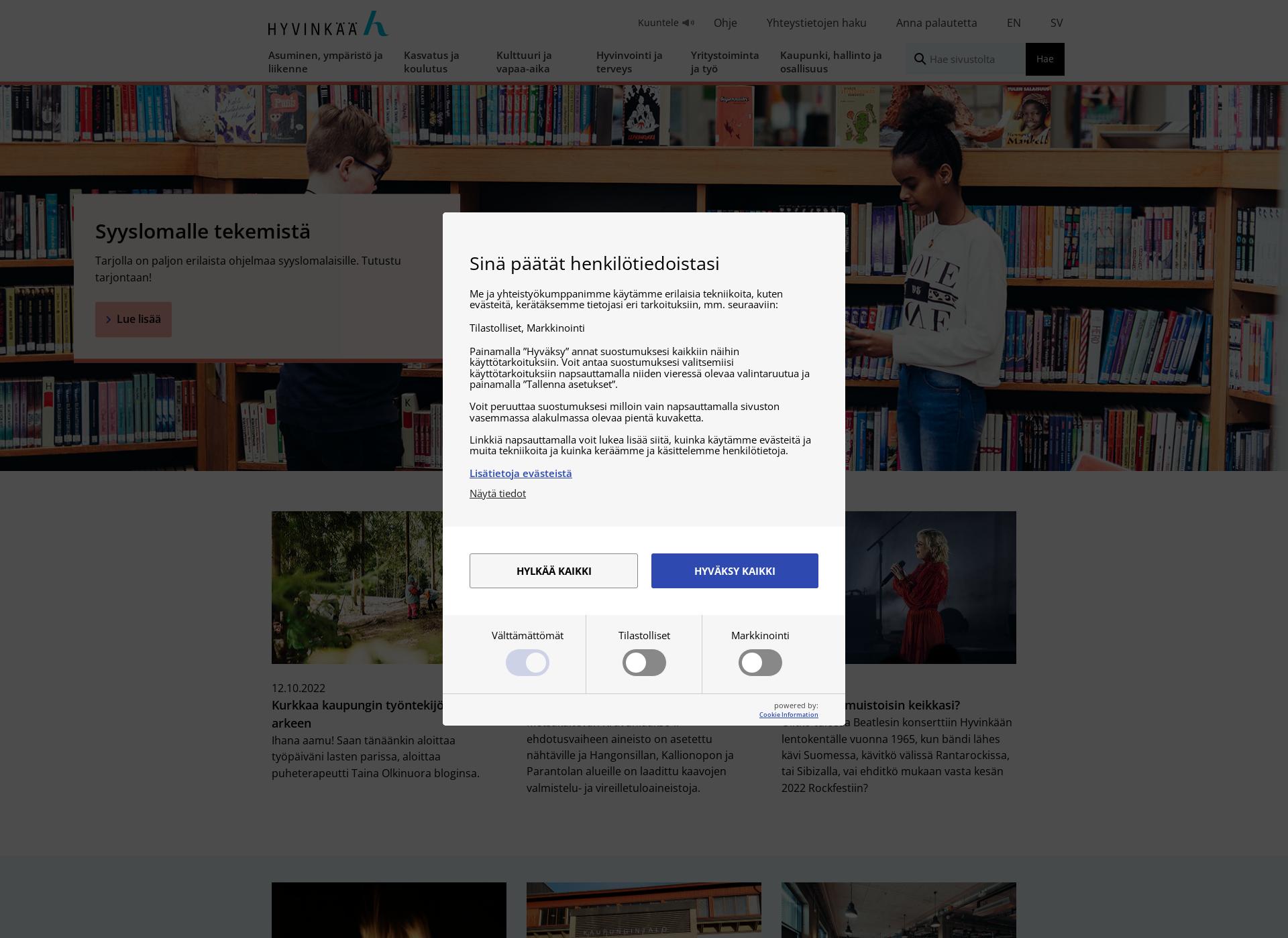 Screenshot for hyvinkaa.fi