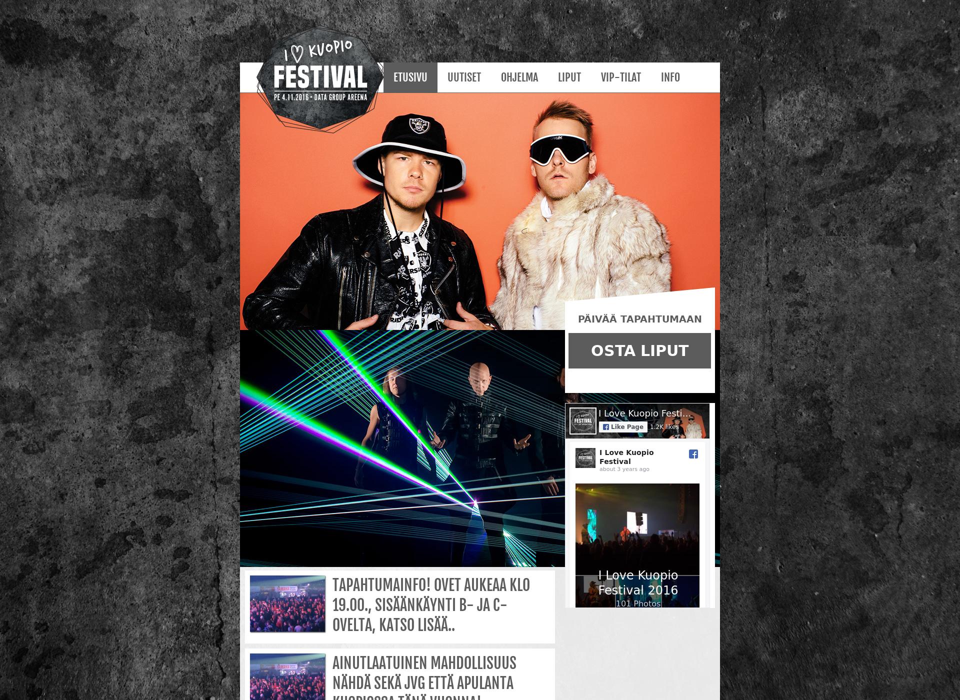 Screenshot for ilovekuopiofestival.fi