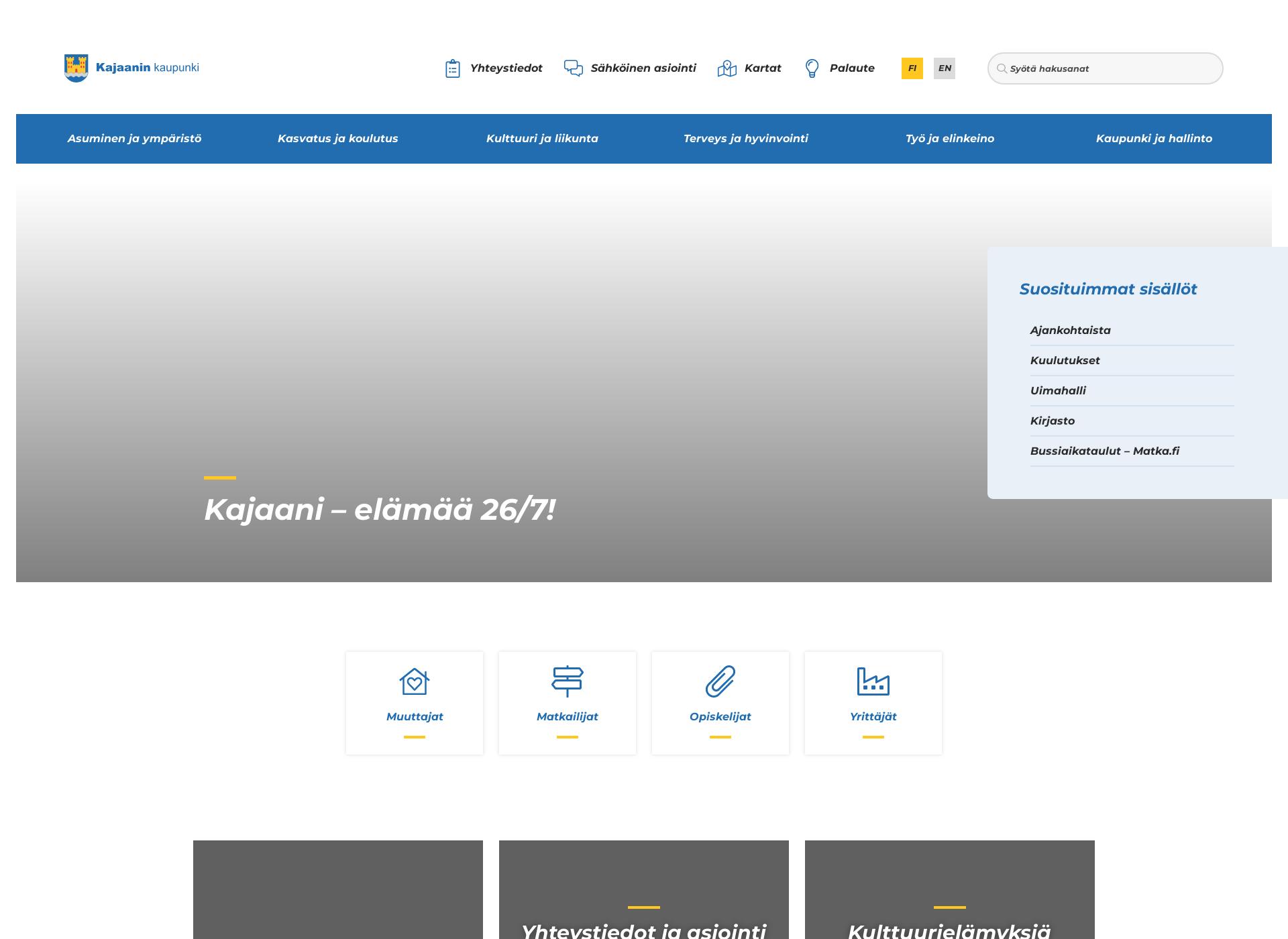 Screenshot for kajaani.fi
