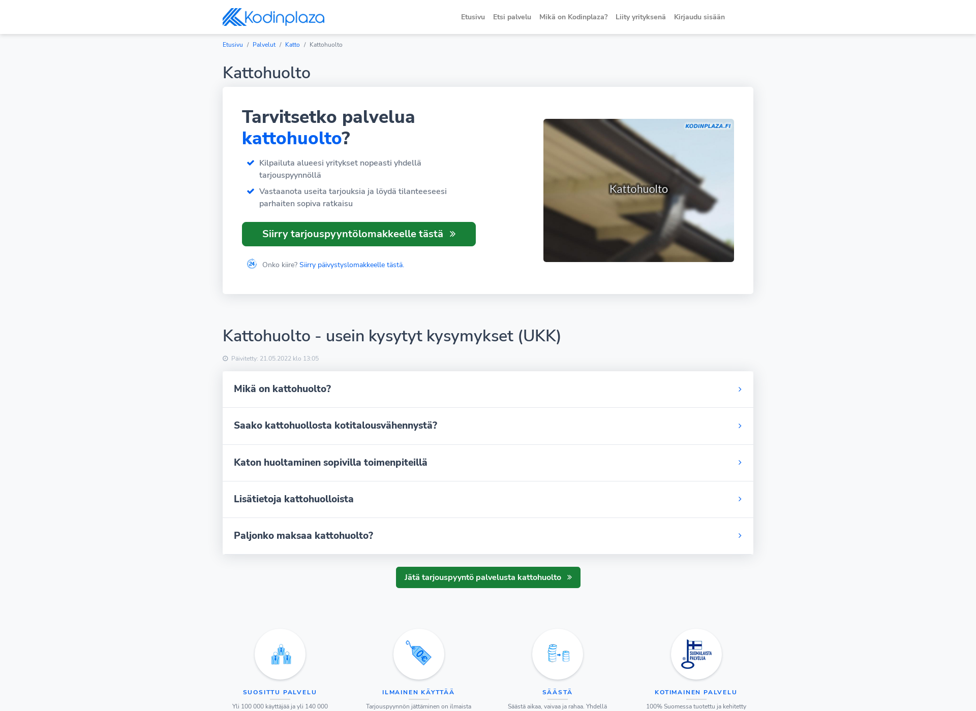 Screenshot for kattohuoltomiehet.fi