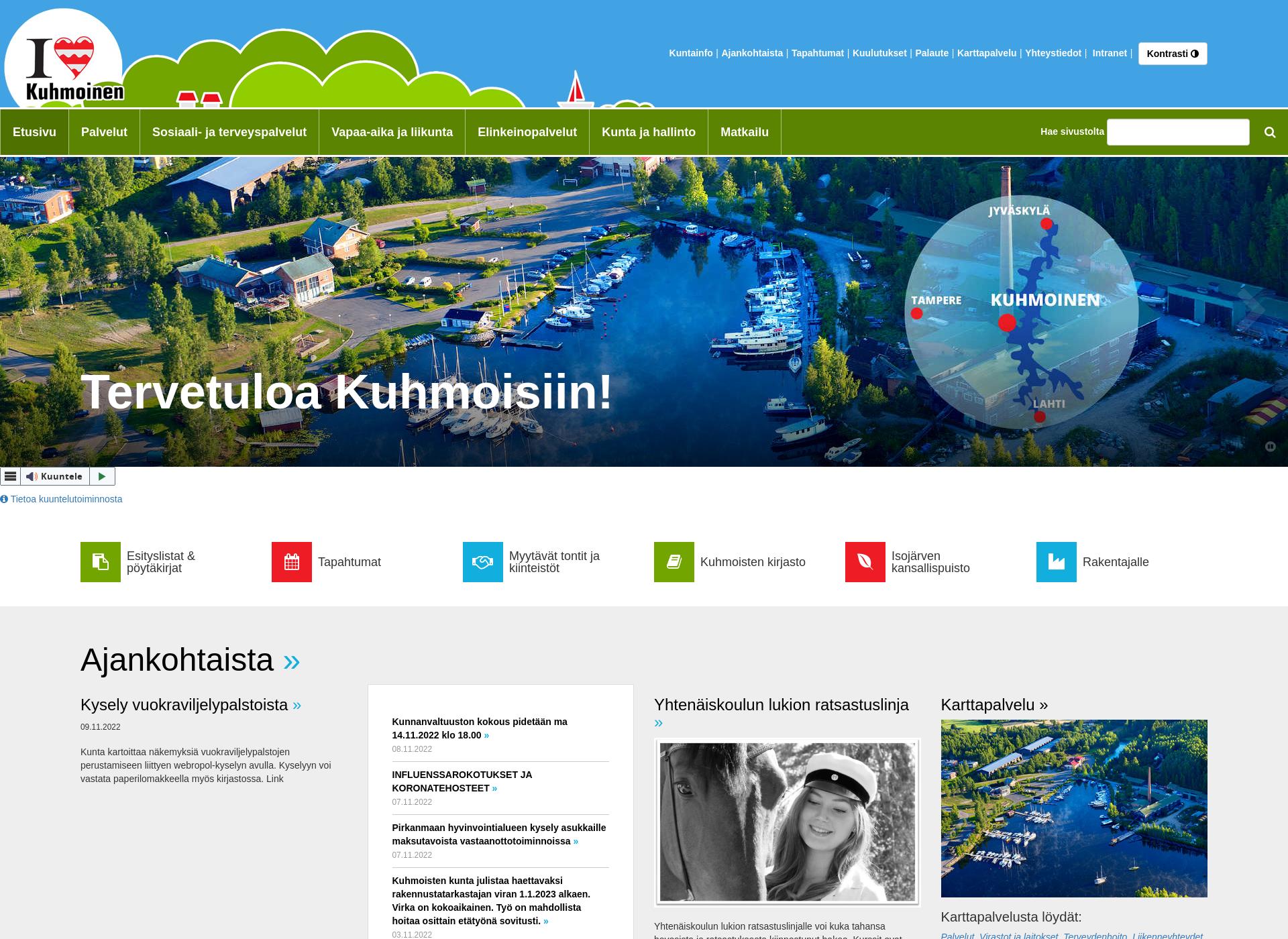 Screenshot for kuhmoinen.fi