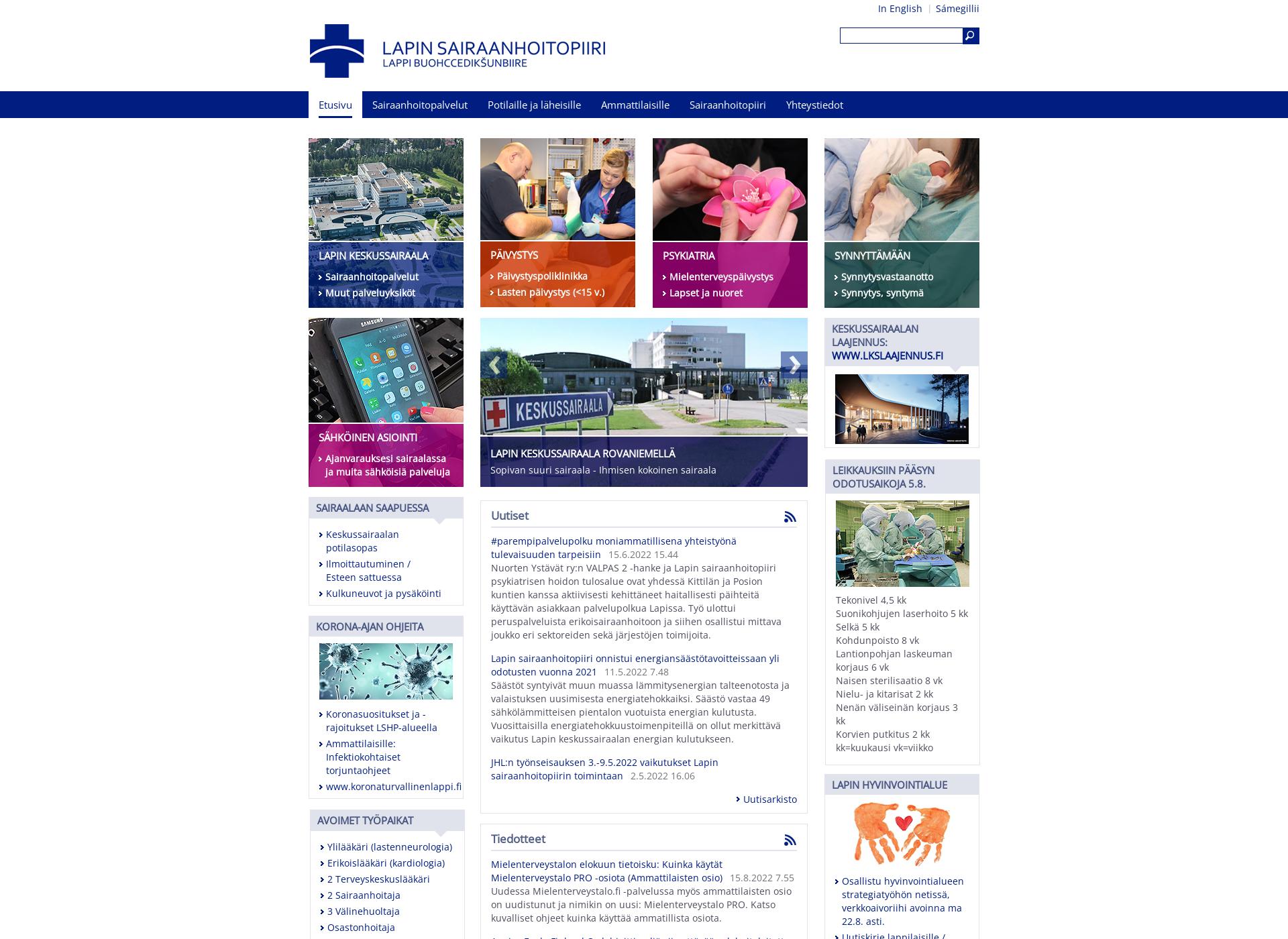 Screenshot for lapinkeskussairaala.fi