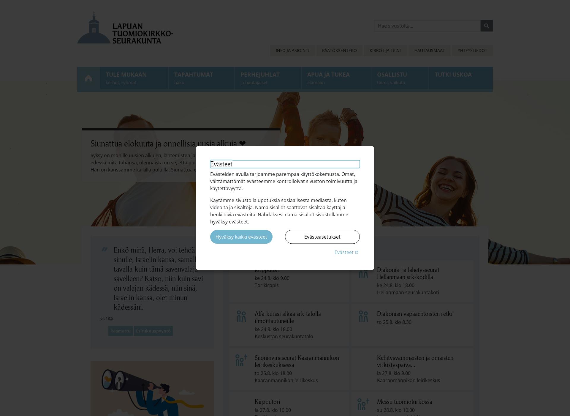 Screenshot for lapuantuomiokirkkoseurakunta.fi