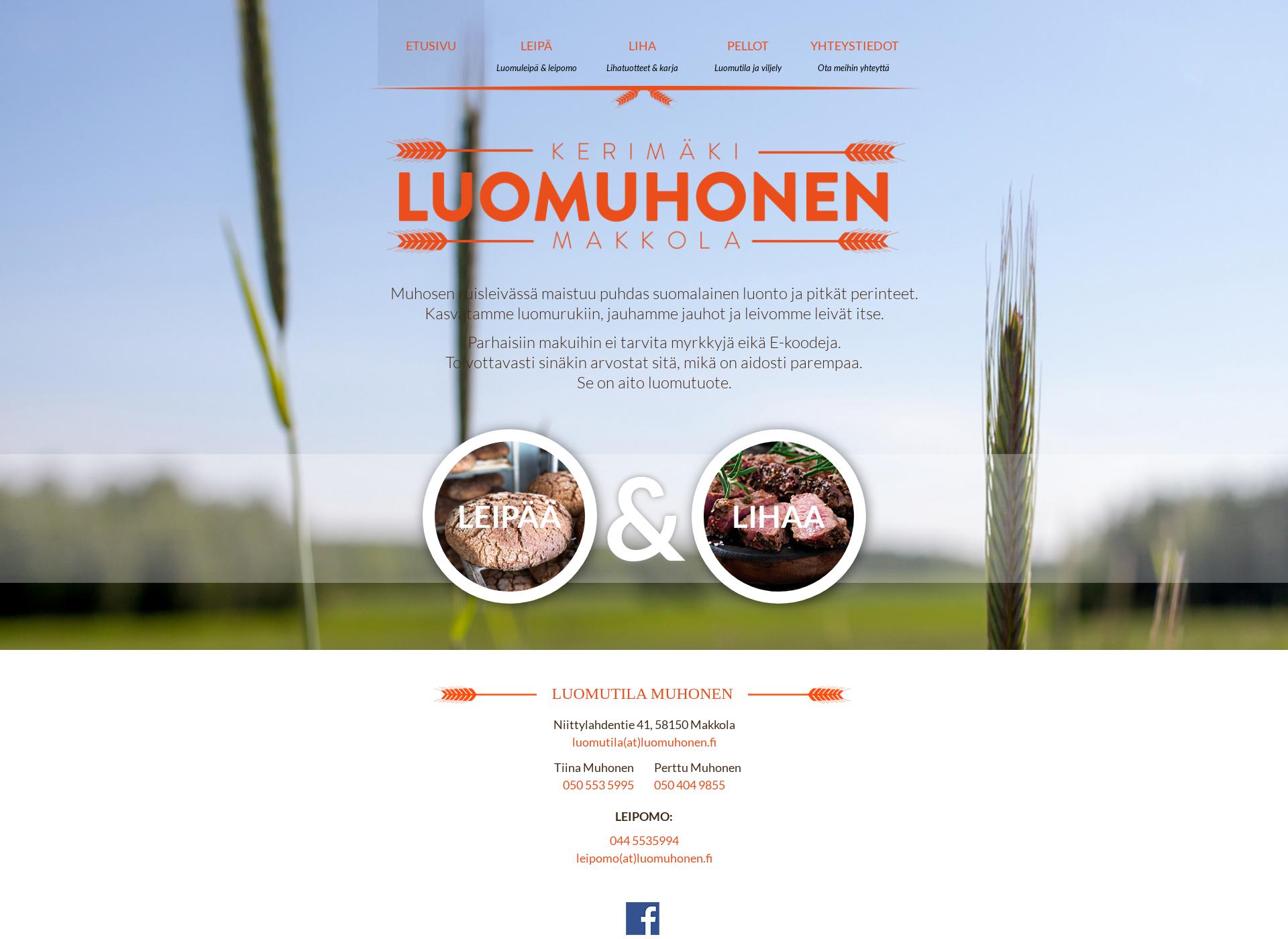 Screenshot for luomuhonen.fi