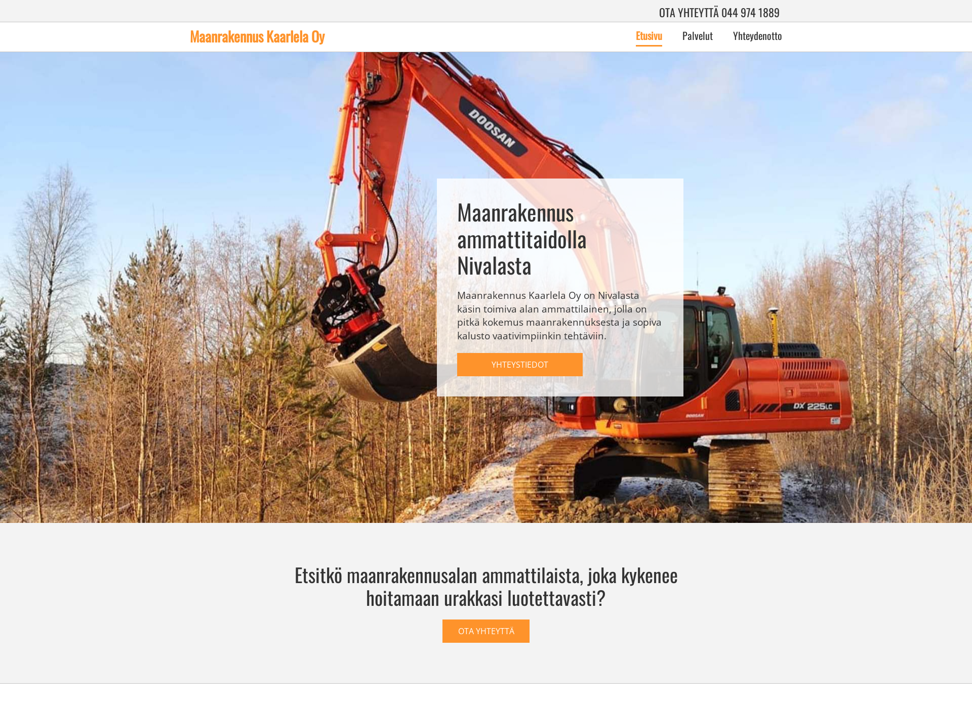 Screenshot for maanrakennuskaarlela.fi