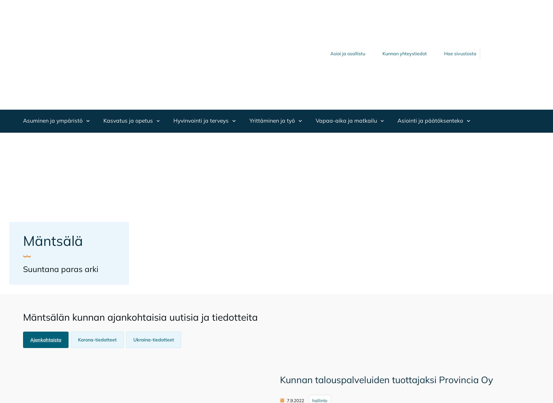Screenshot for mantsala.fi
