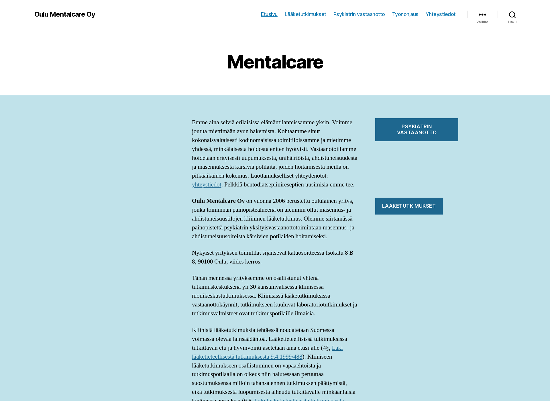 Screenshot for mentalcare.fi