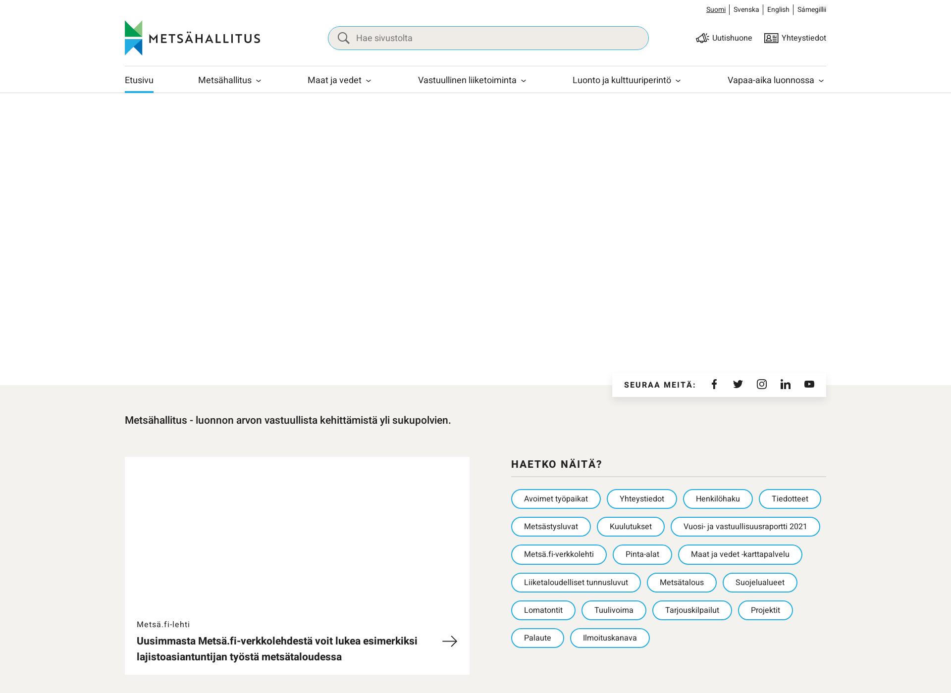 Screenshot for metsa.fi