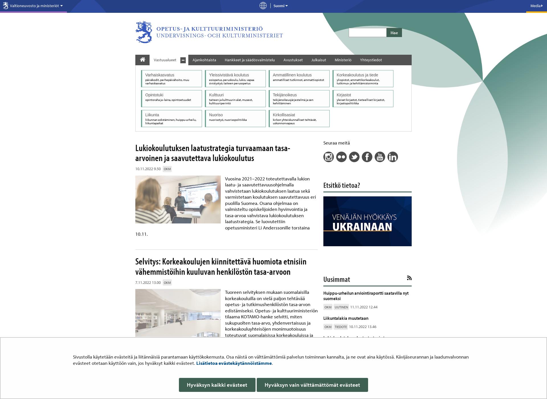 Screenshot for minedu.fi