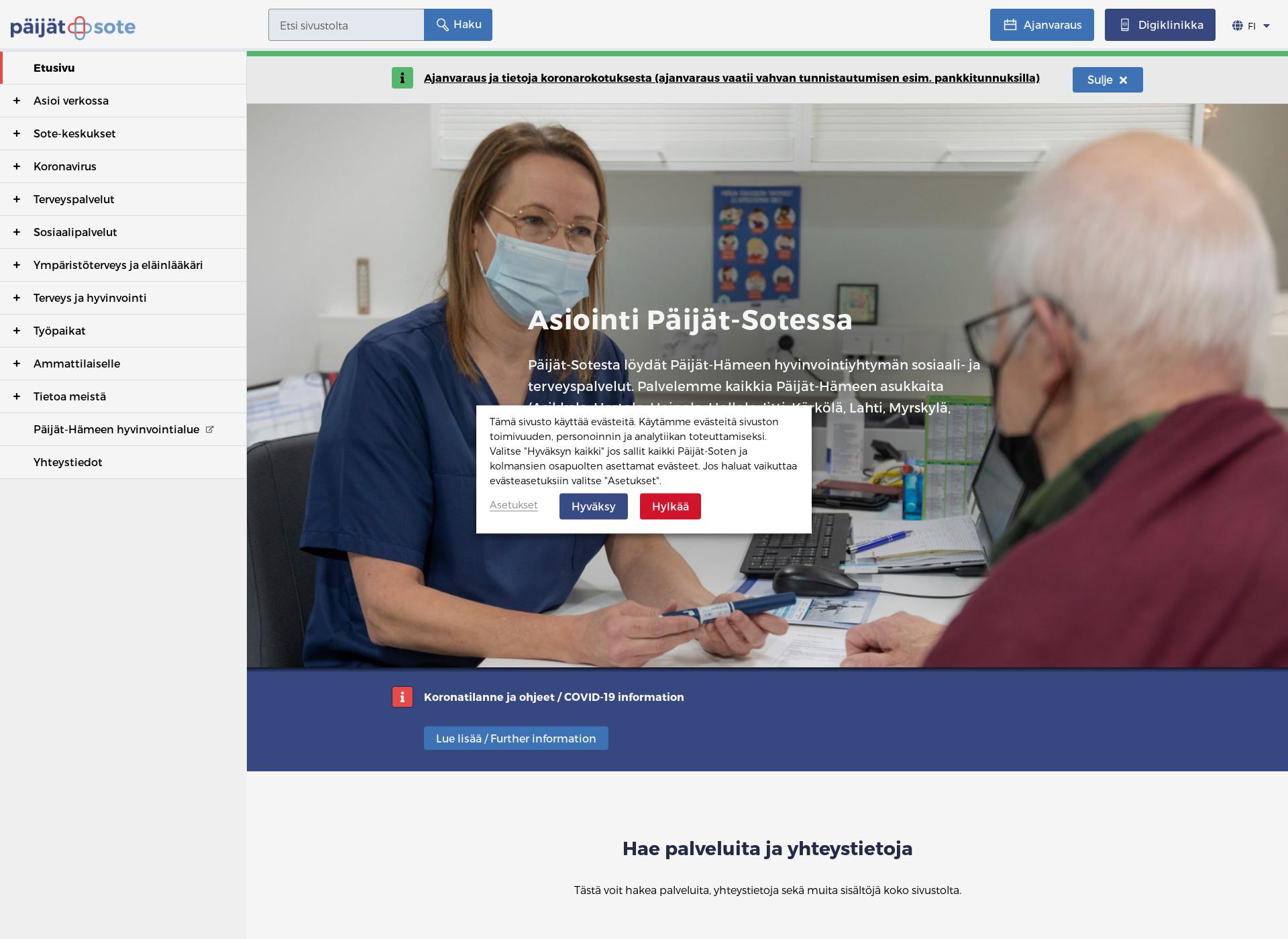Screenshot for paijat-sote.fi