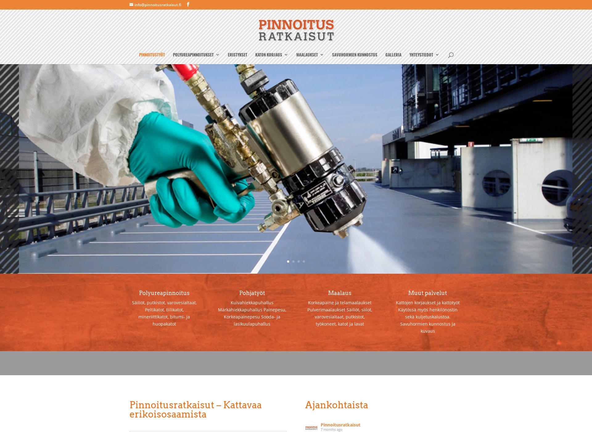 Screenshot for polyurea-pinnoite.fi
