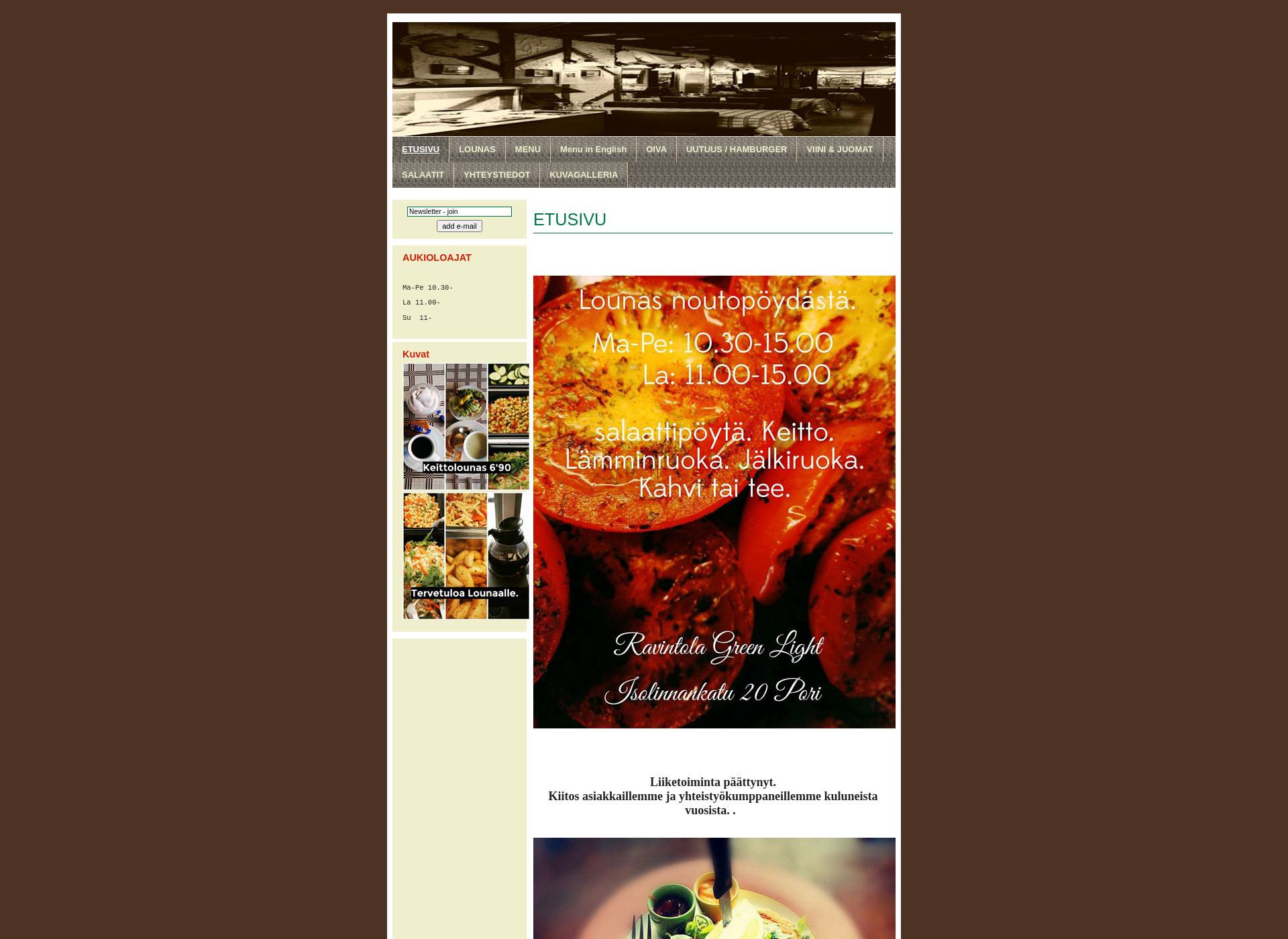 Screenshot for ravintolagreenlight.fi