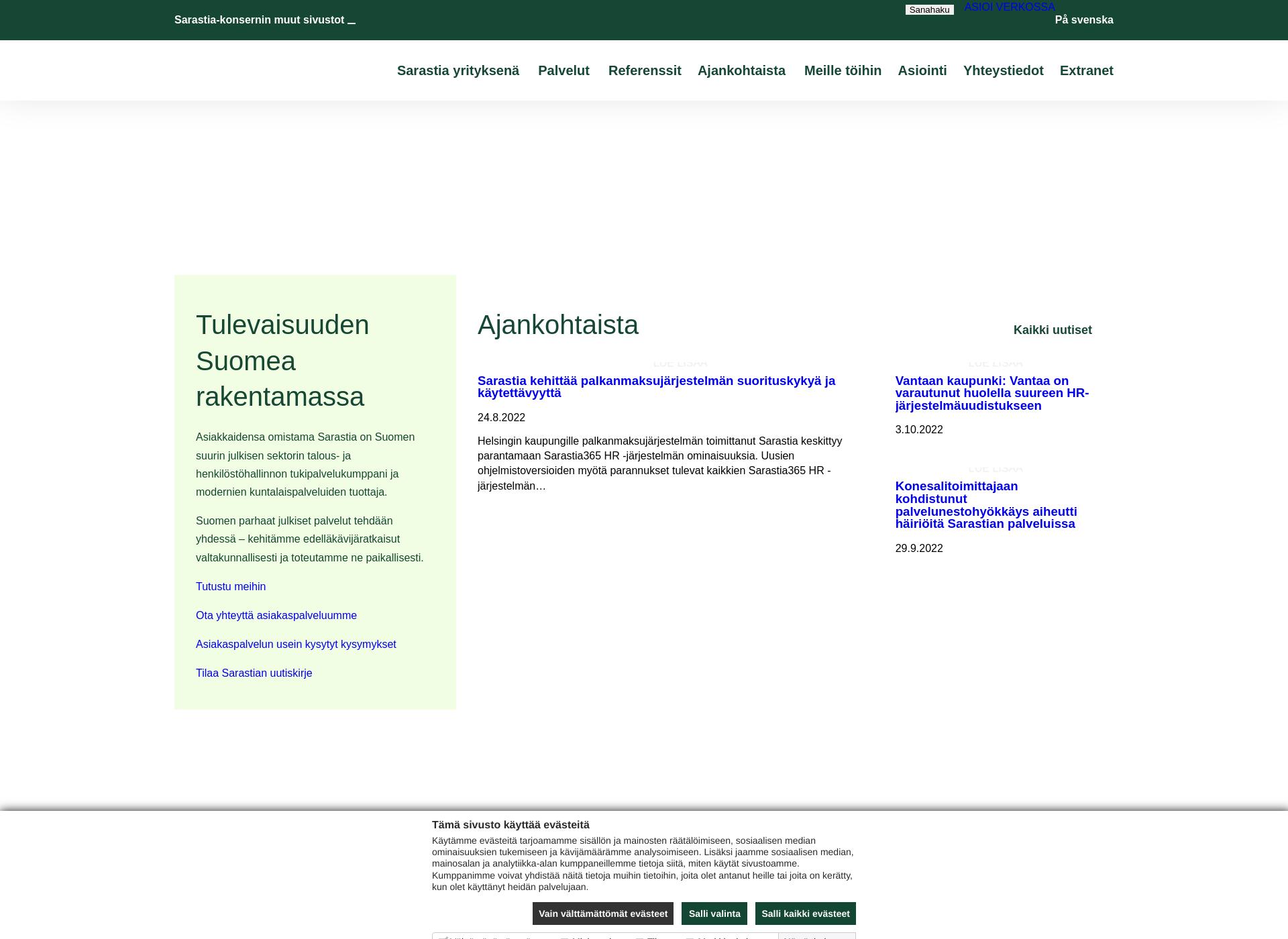 Screenshot for sarastia.fi