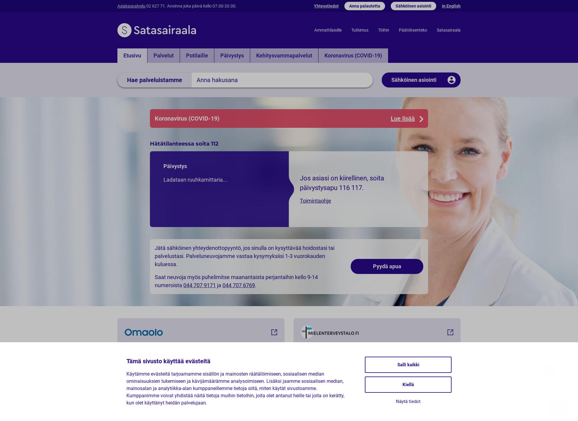 Screenshot for satasairaala.fi