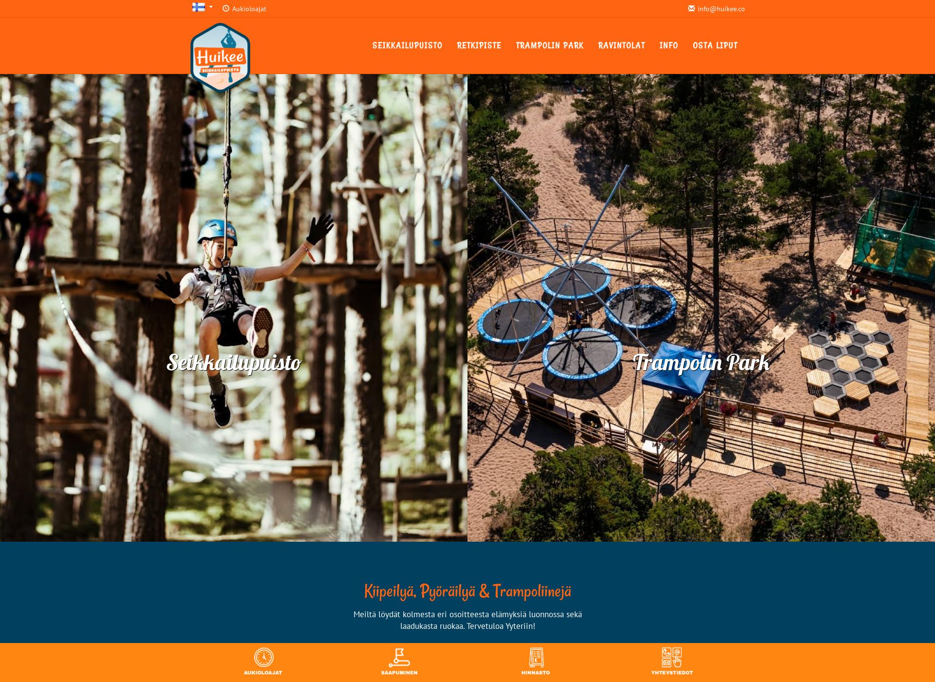 Screenshot for seikkailupuistohuikee.fi