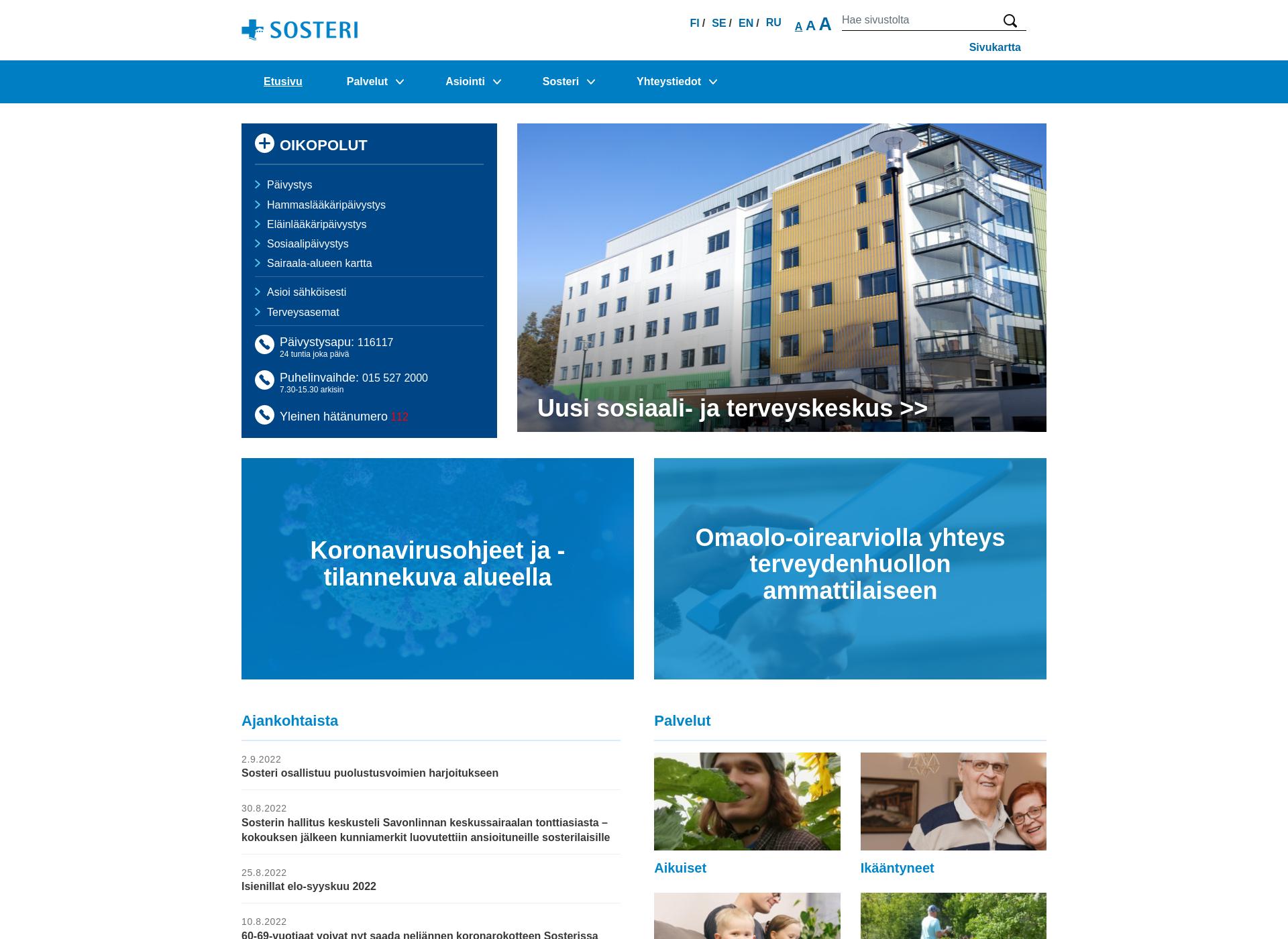 Screenshot for sosteri.fi