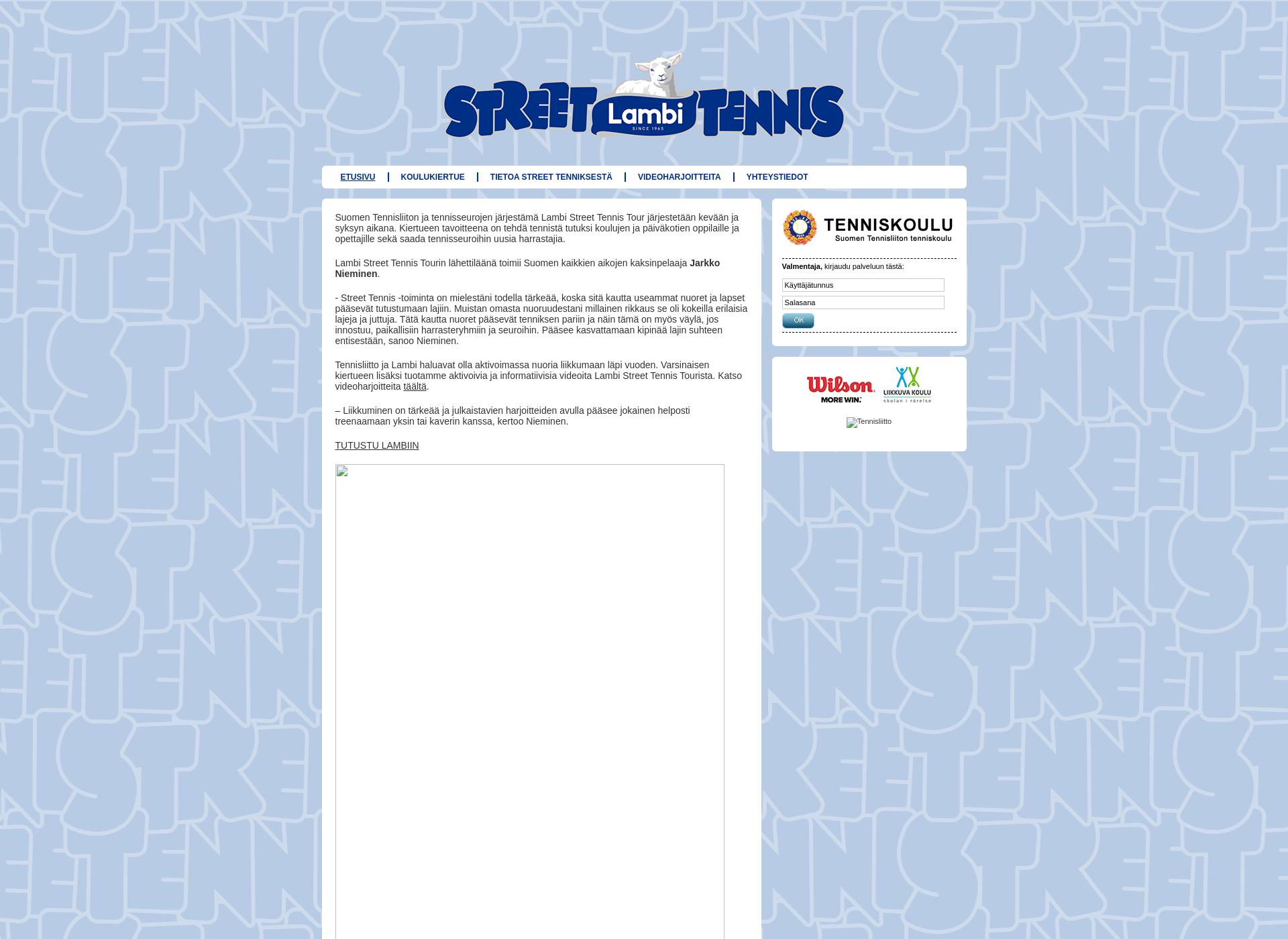 Screenshot for streettennis.fi