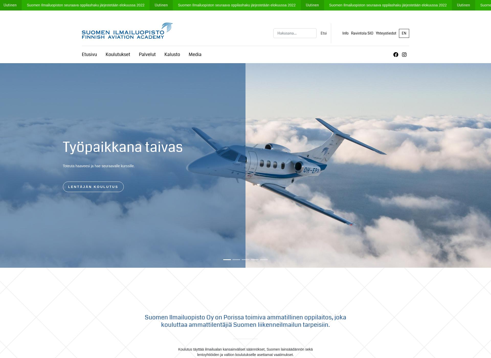 Screenshot for suomenilmailuopisto.fi