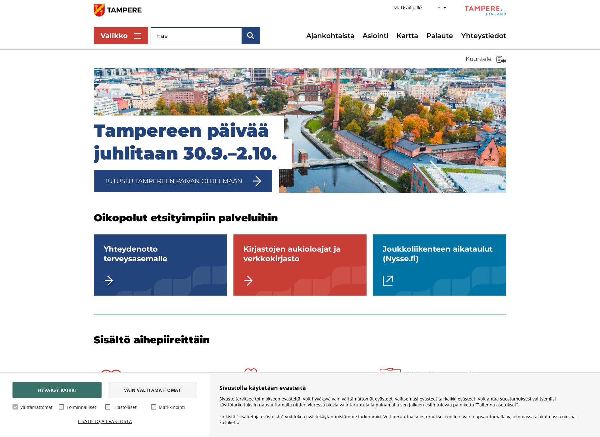 Screenshot for tampere.fi