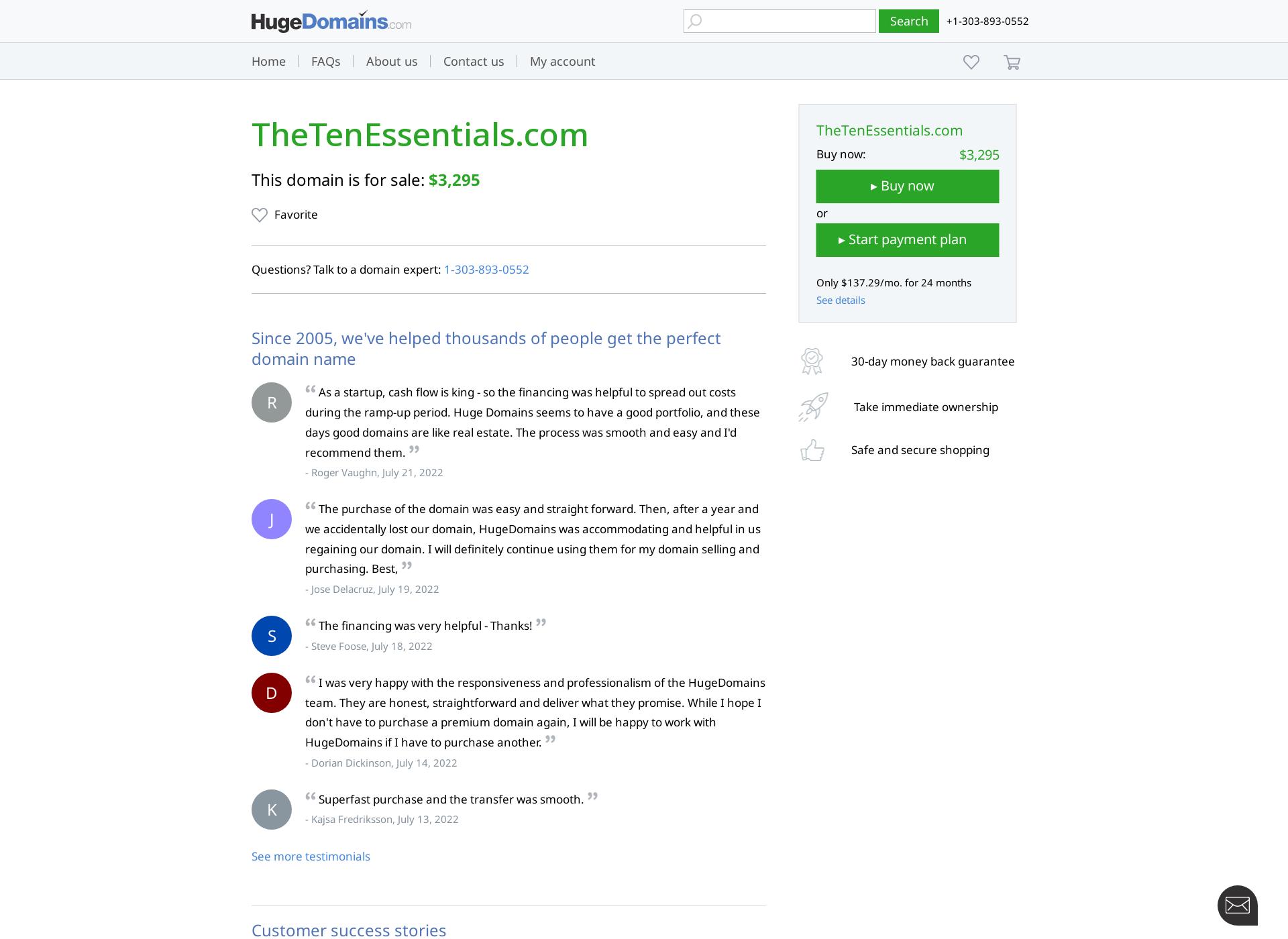 Screenshot for thetenessentials.com