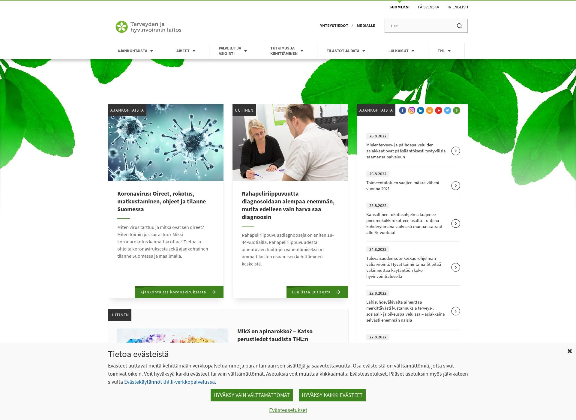 Screenshot for thl.fi