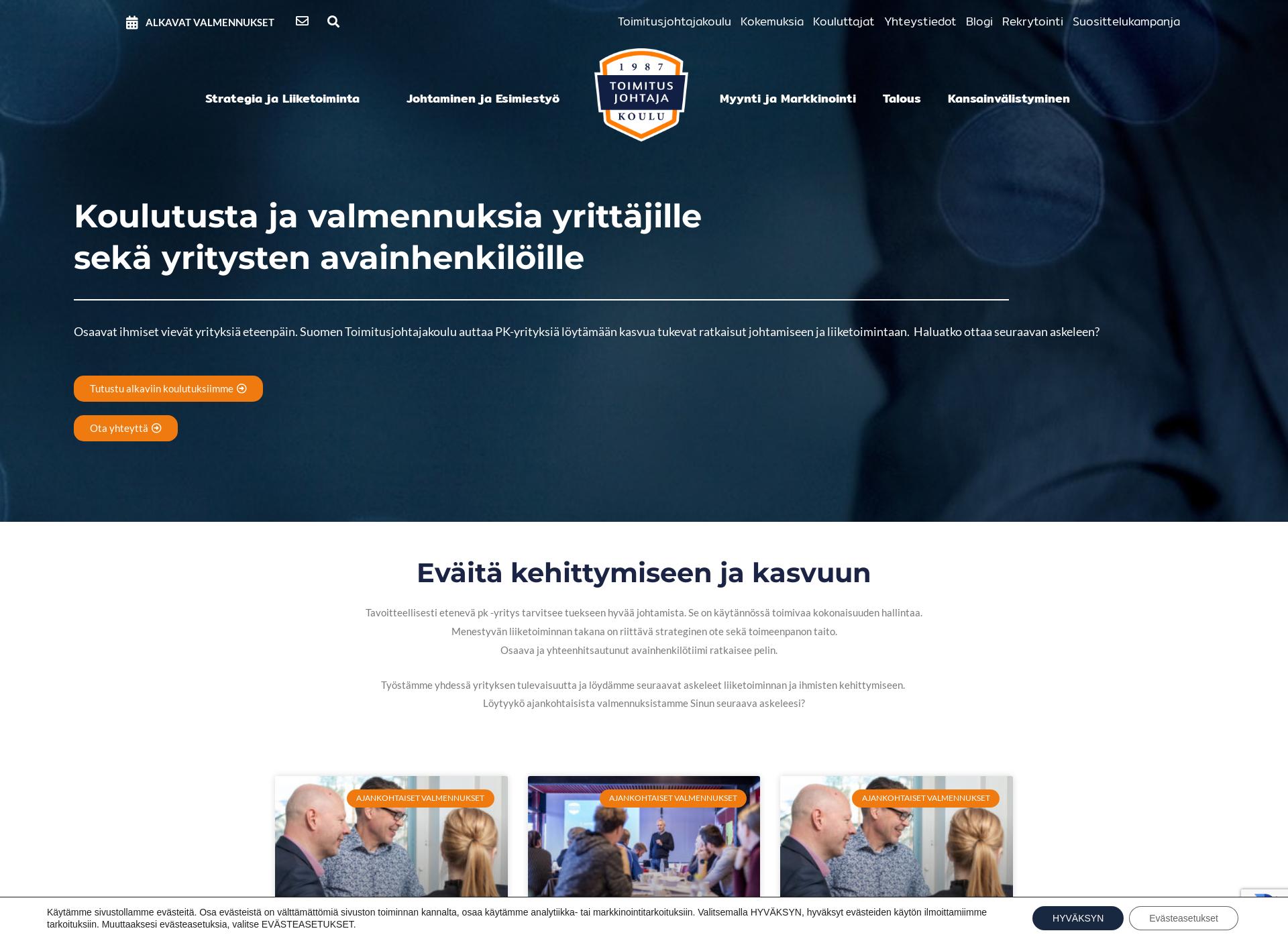 Screenshot for toimitusjohtajakoulu.fi
