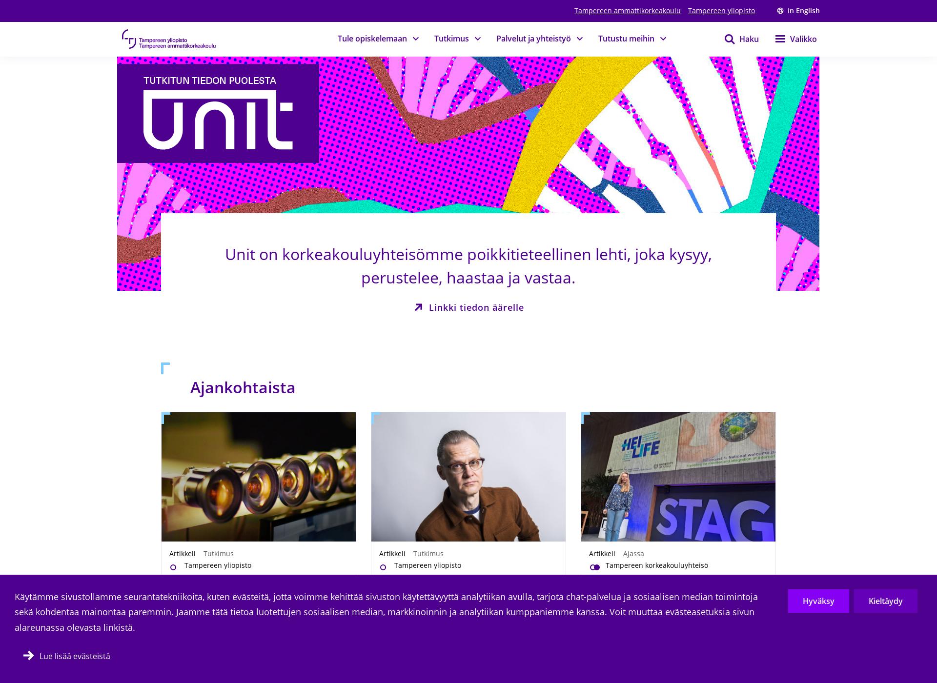 Screenshot for tuni.fi