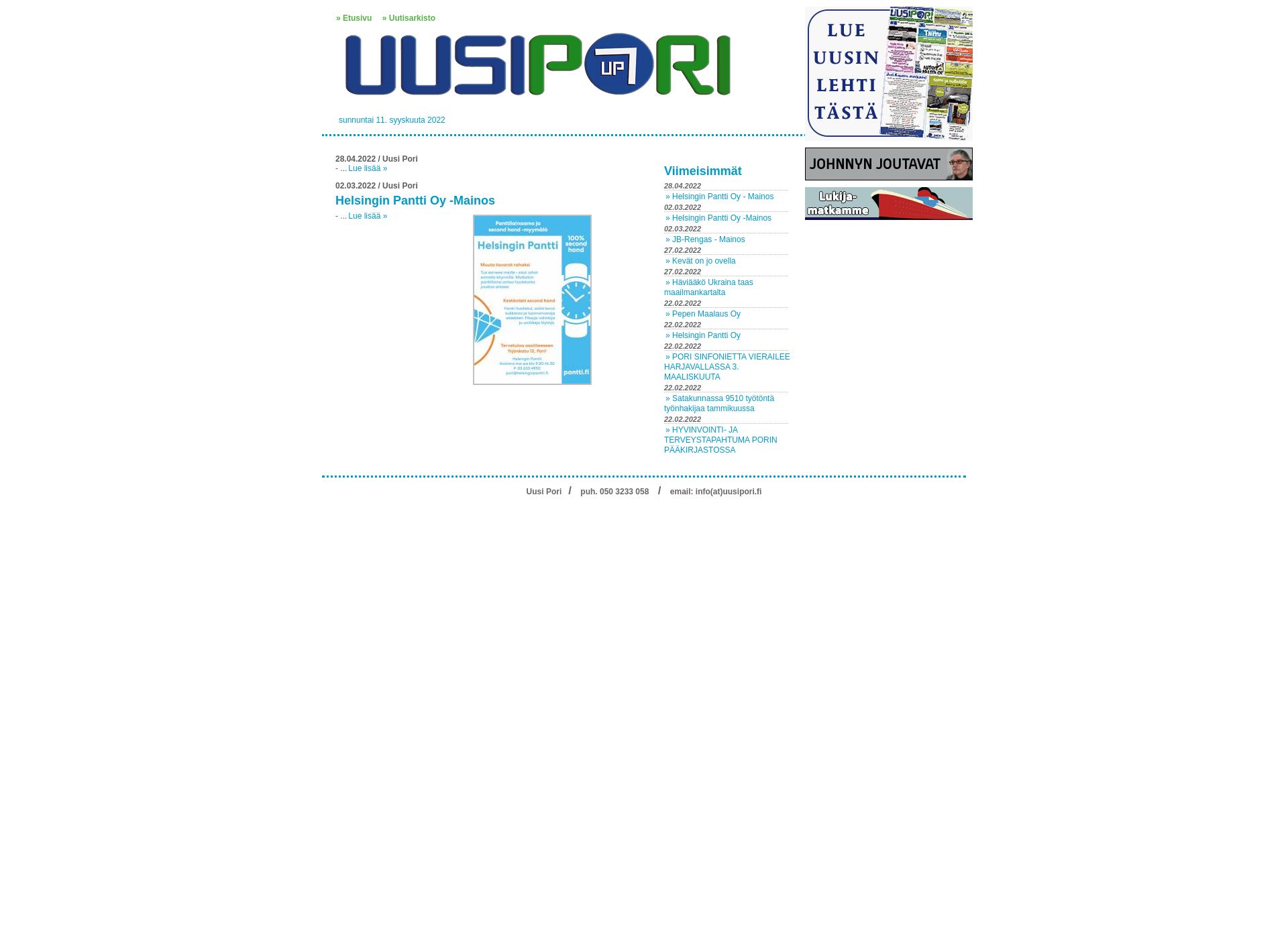 Screenshot for uusipori.fi