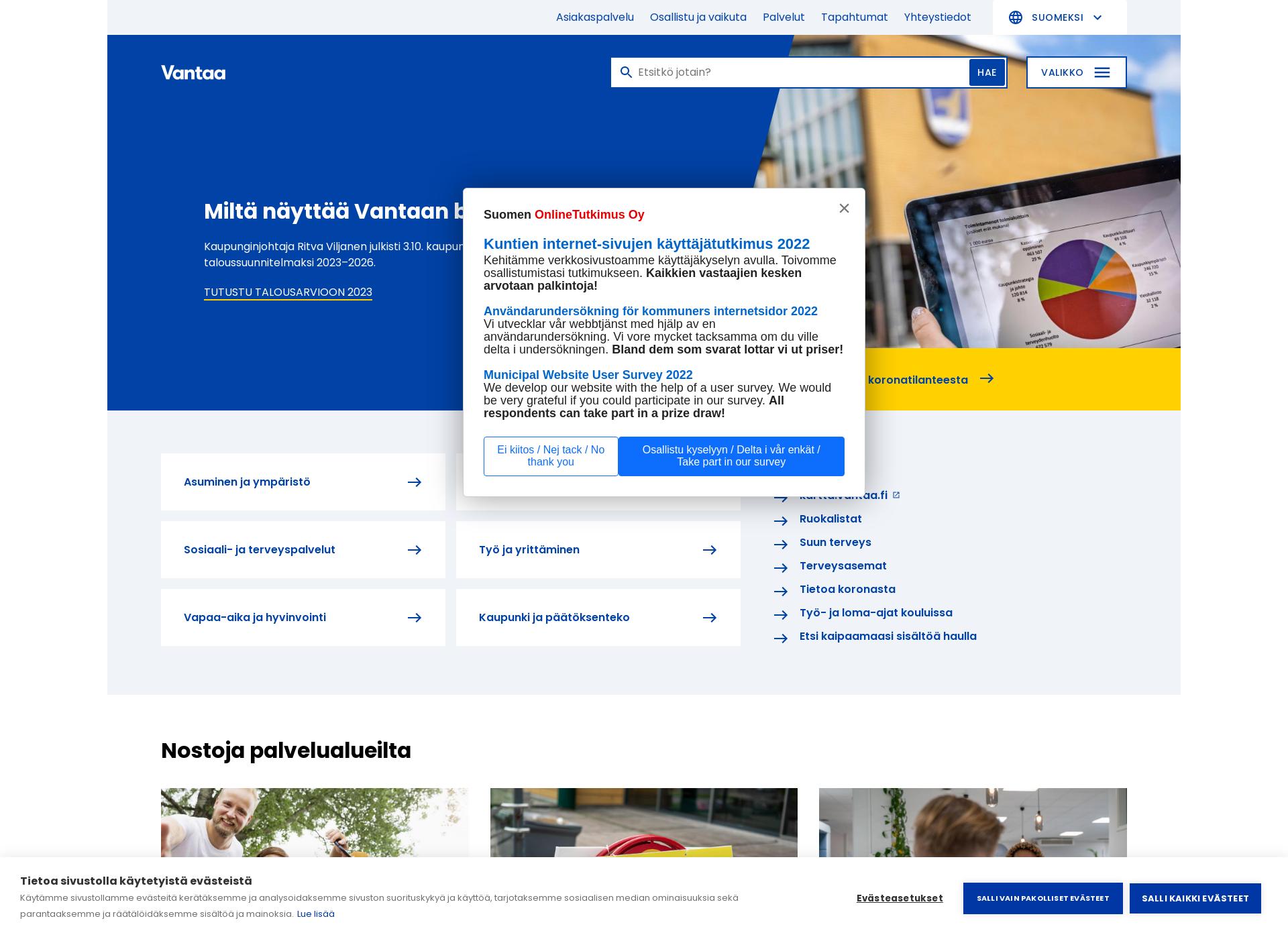 Screenshot for vantaa.fi