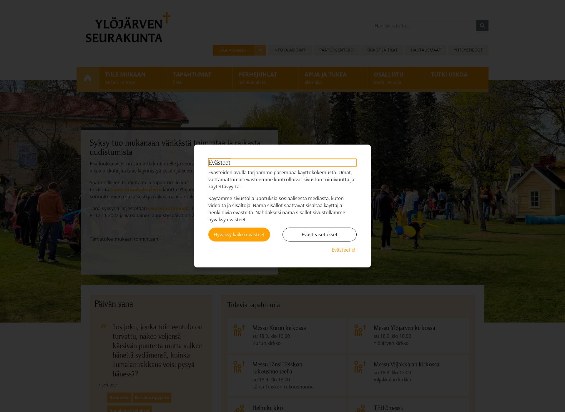 Screenshot for ylojarvenseurakunta.fi